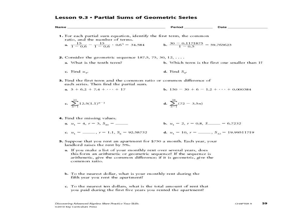 Geometric Sequences And Series Worksheet Answers Netvs