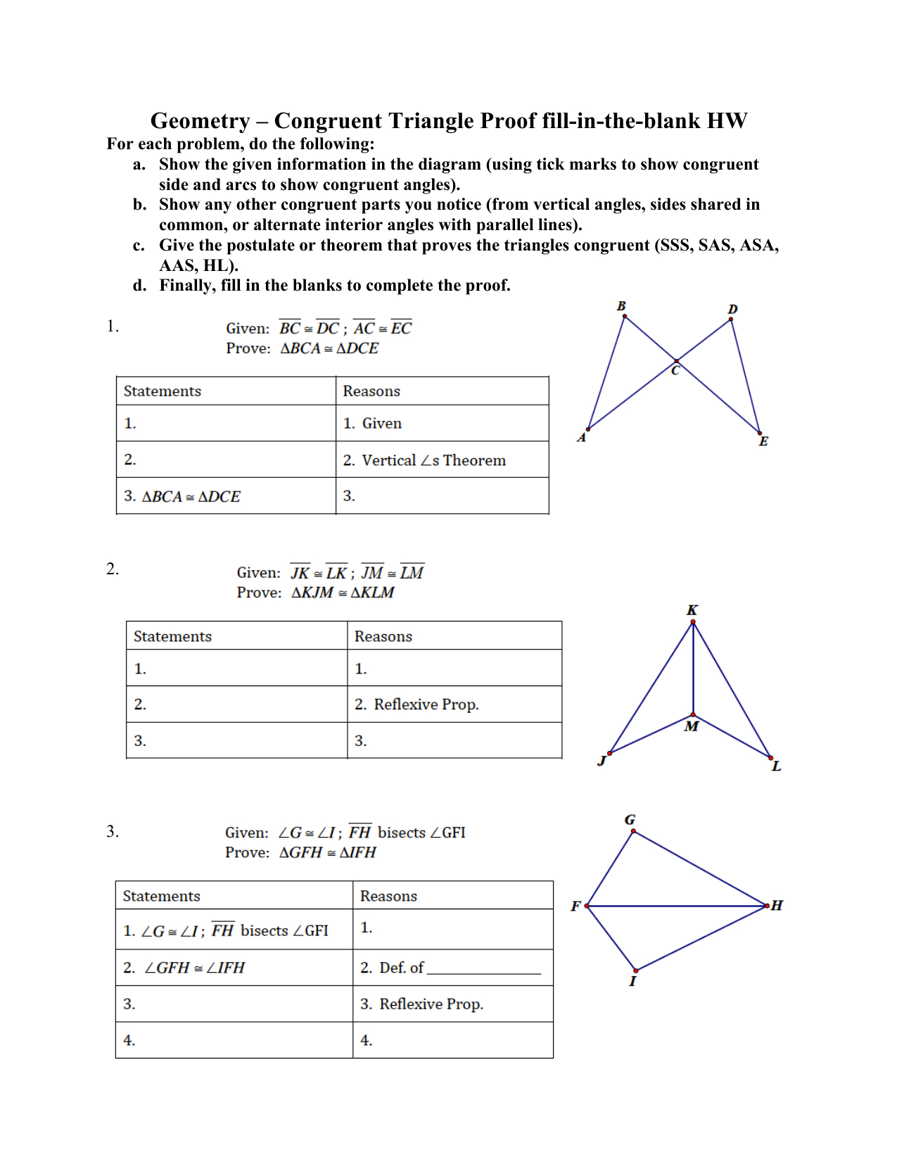 Geometry Congruent Triangle Proof Fillintheblank