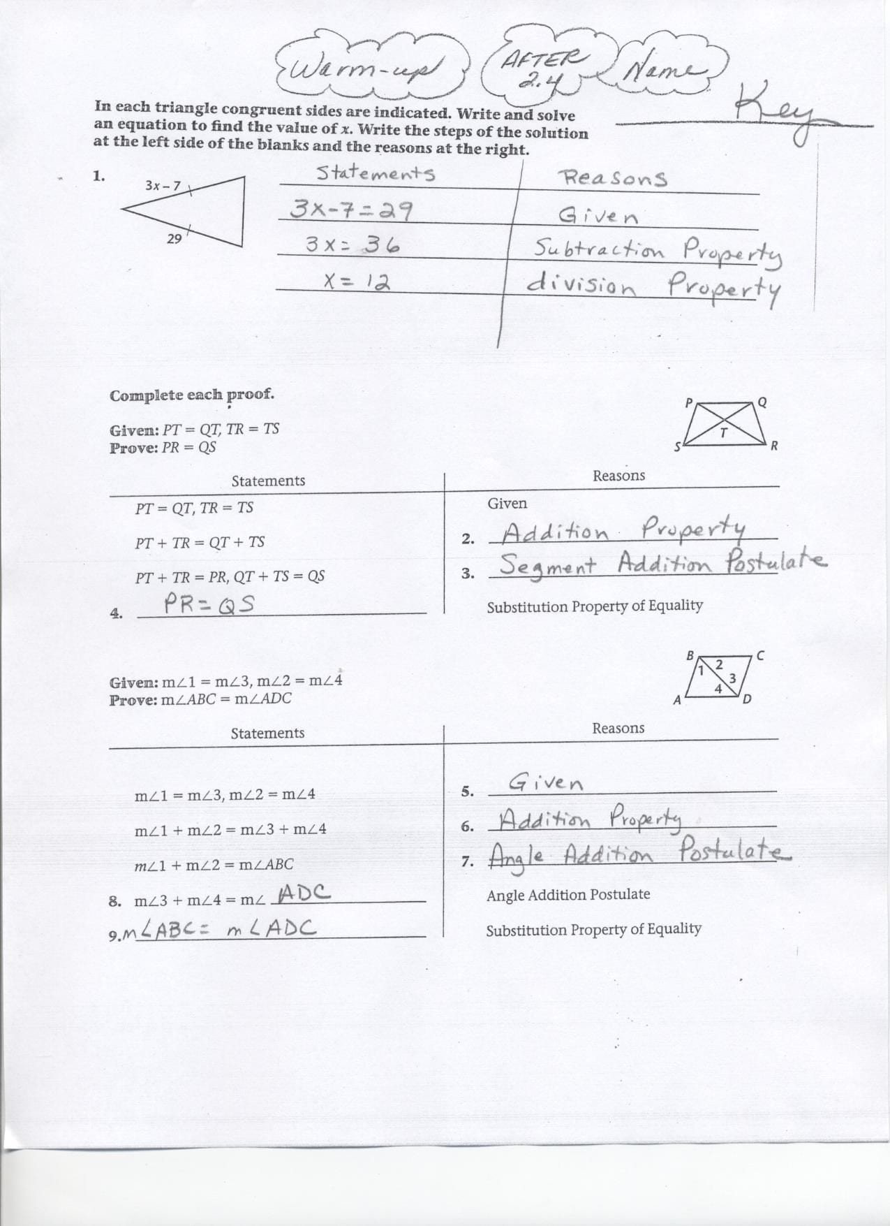 Geometry Segment And Angle Addition Worksheet Answer Key