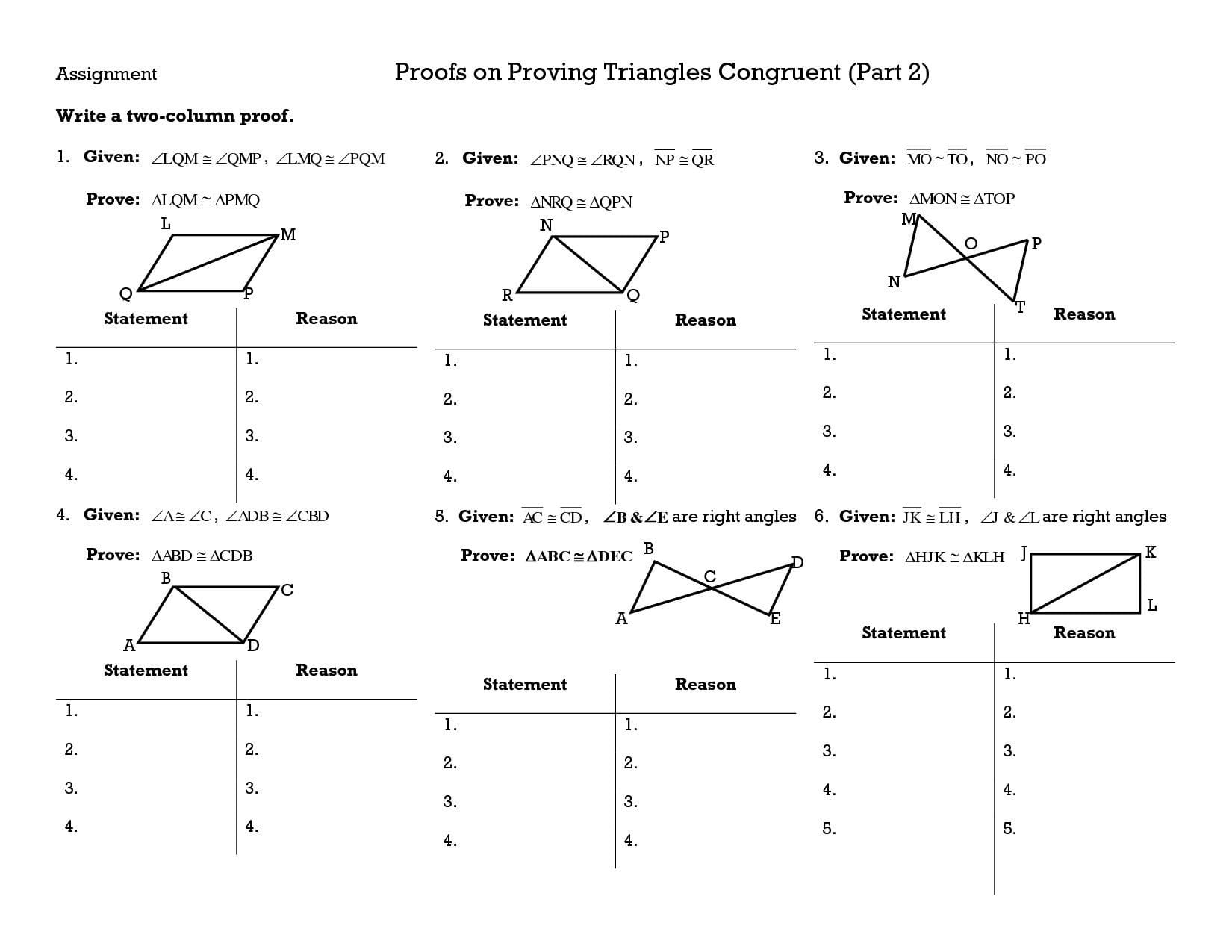 Geometry Worksheet Congruent Triangles Answers