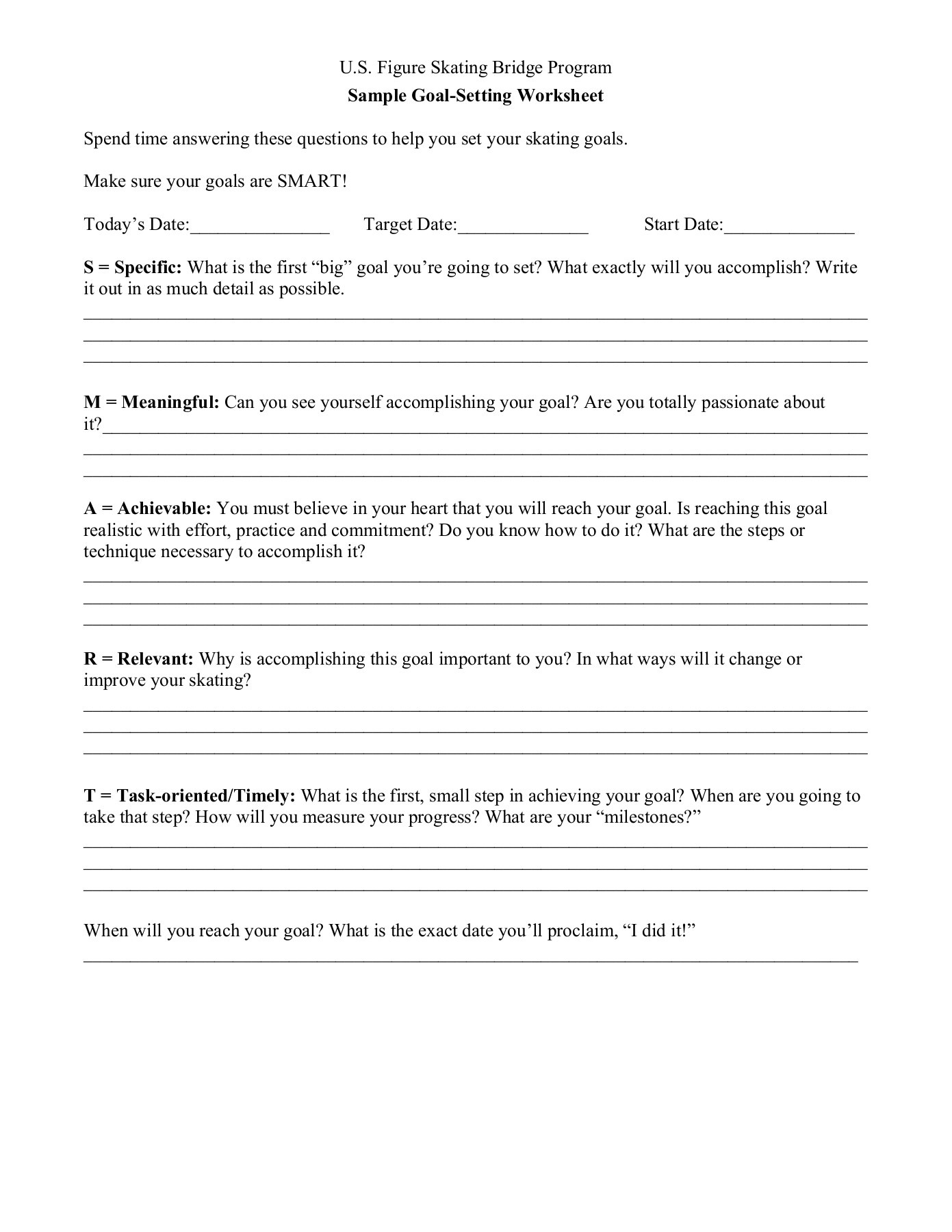 Goalsetting And Selfconfidence Worksheets Pages 1 4