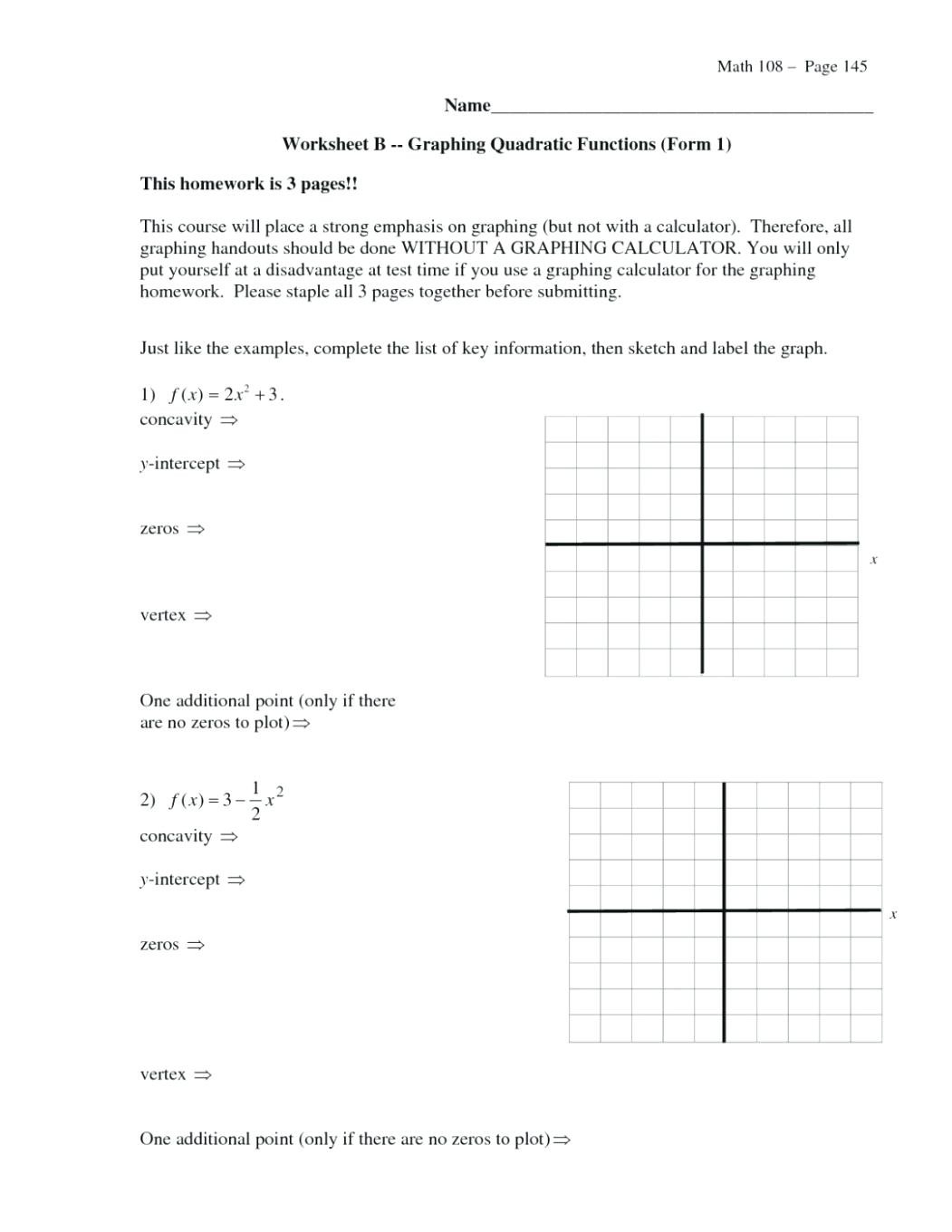 Graphing A Parabola From Vertex Form Worksheet Answer Key