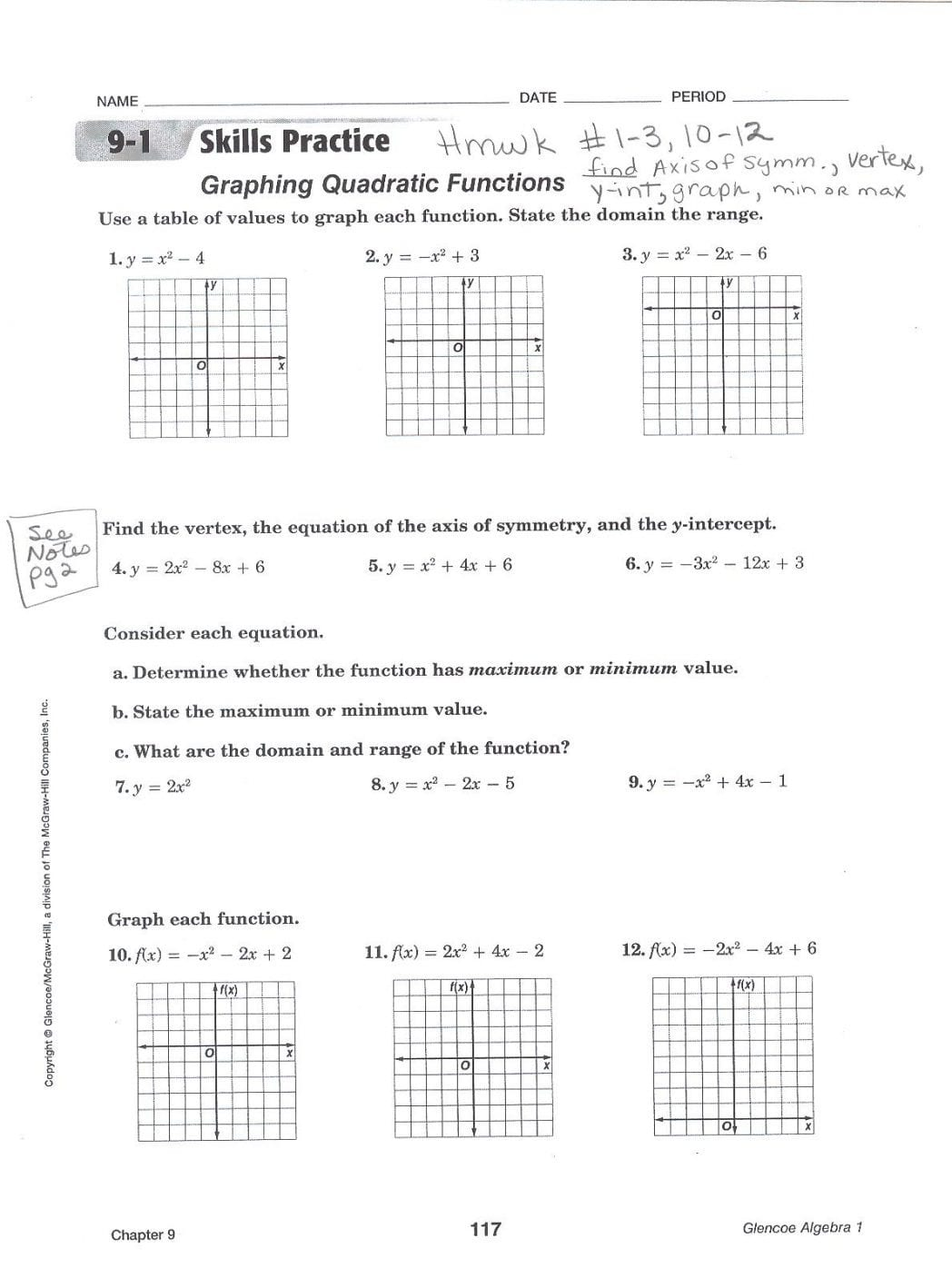Graphing Quadratic Functions In Vertex Form Worksheet