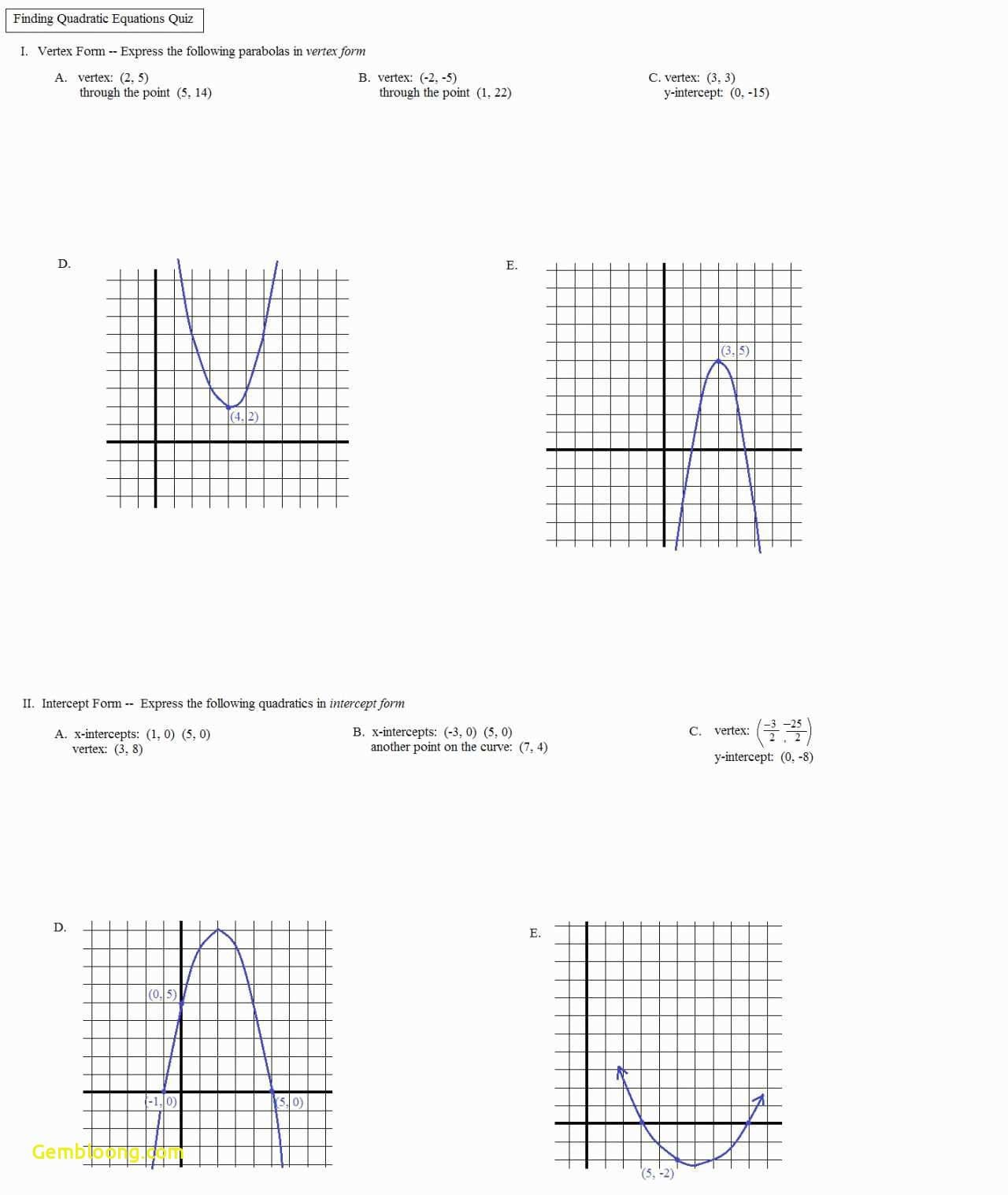 Graphing Quadratics In Standard Form Worksheet