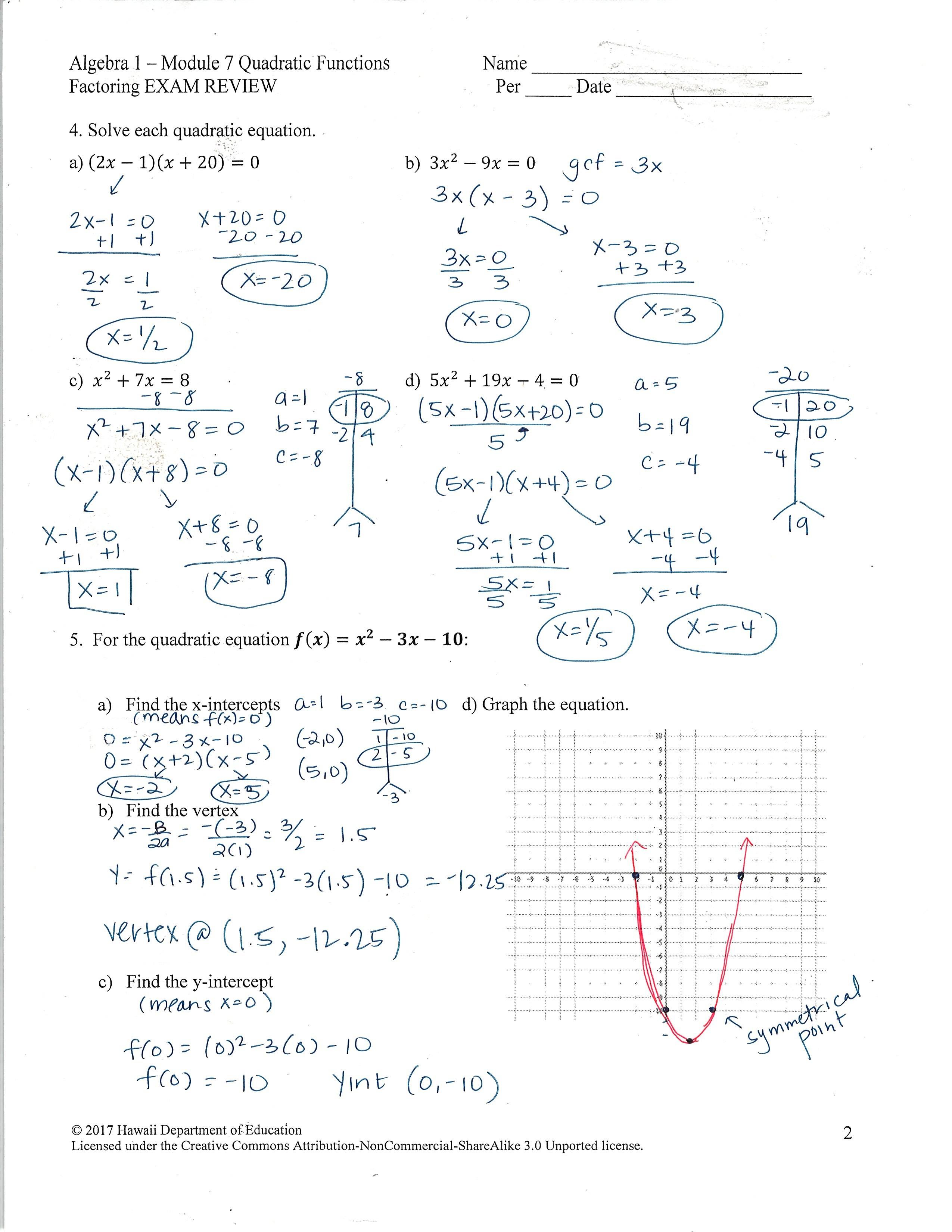 Graphing Quadratics In Standard Form Worksheet Doc