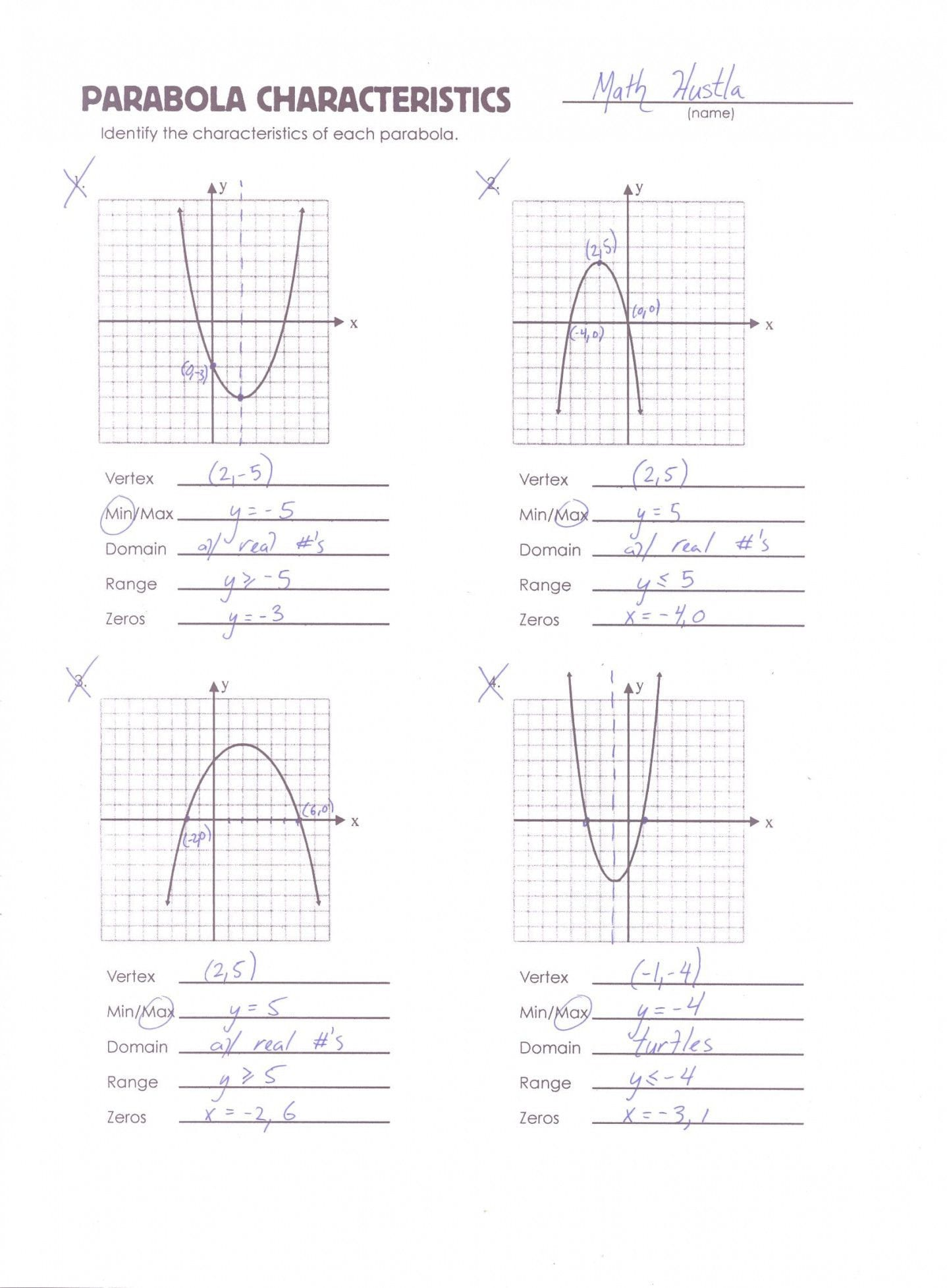 Quadratics Review Worksheet