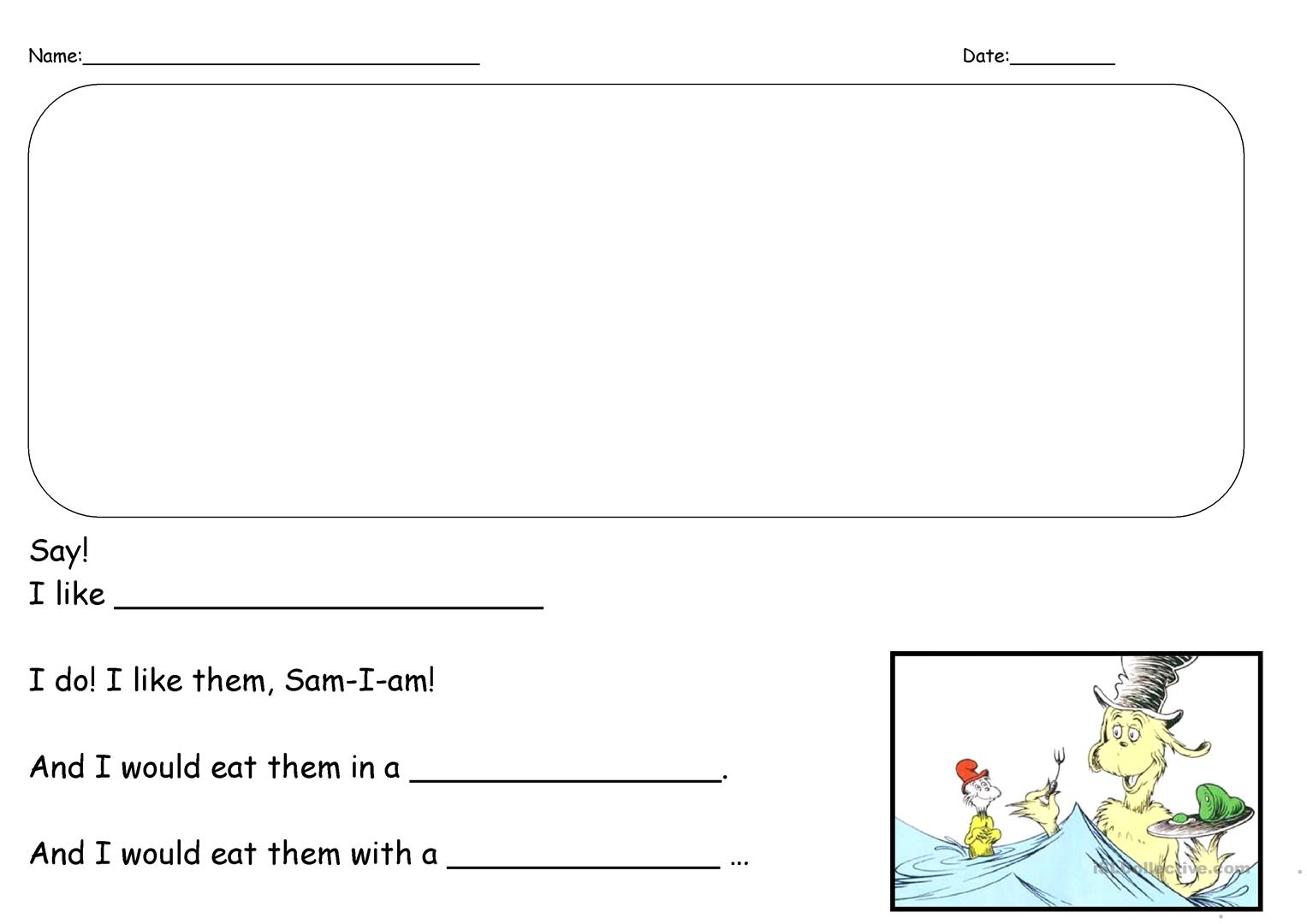 Green Eggs And Ham Writing Prompt English Esl Worksheets