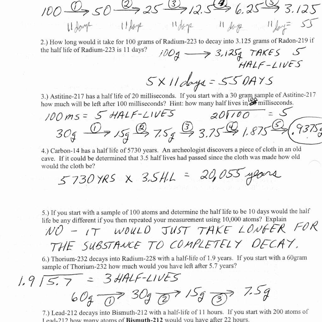 Halflife Practice Worksheets Answers Db Excel