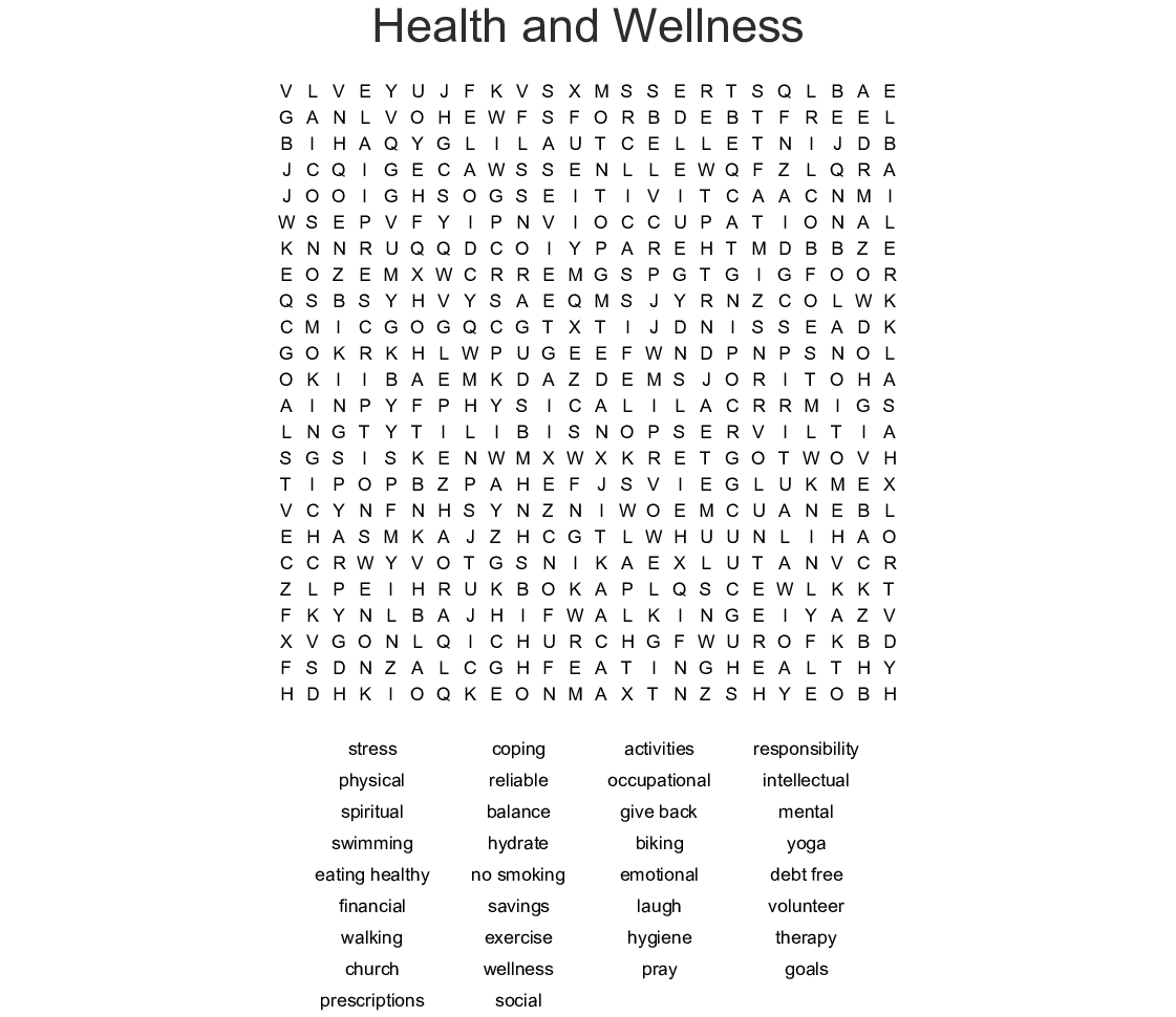Health And Wellness Word Search Word