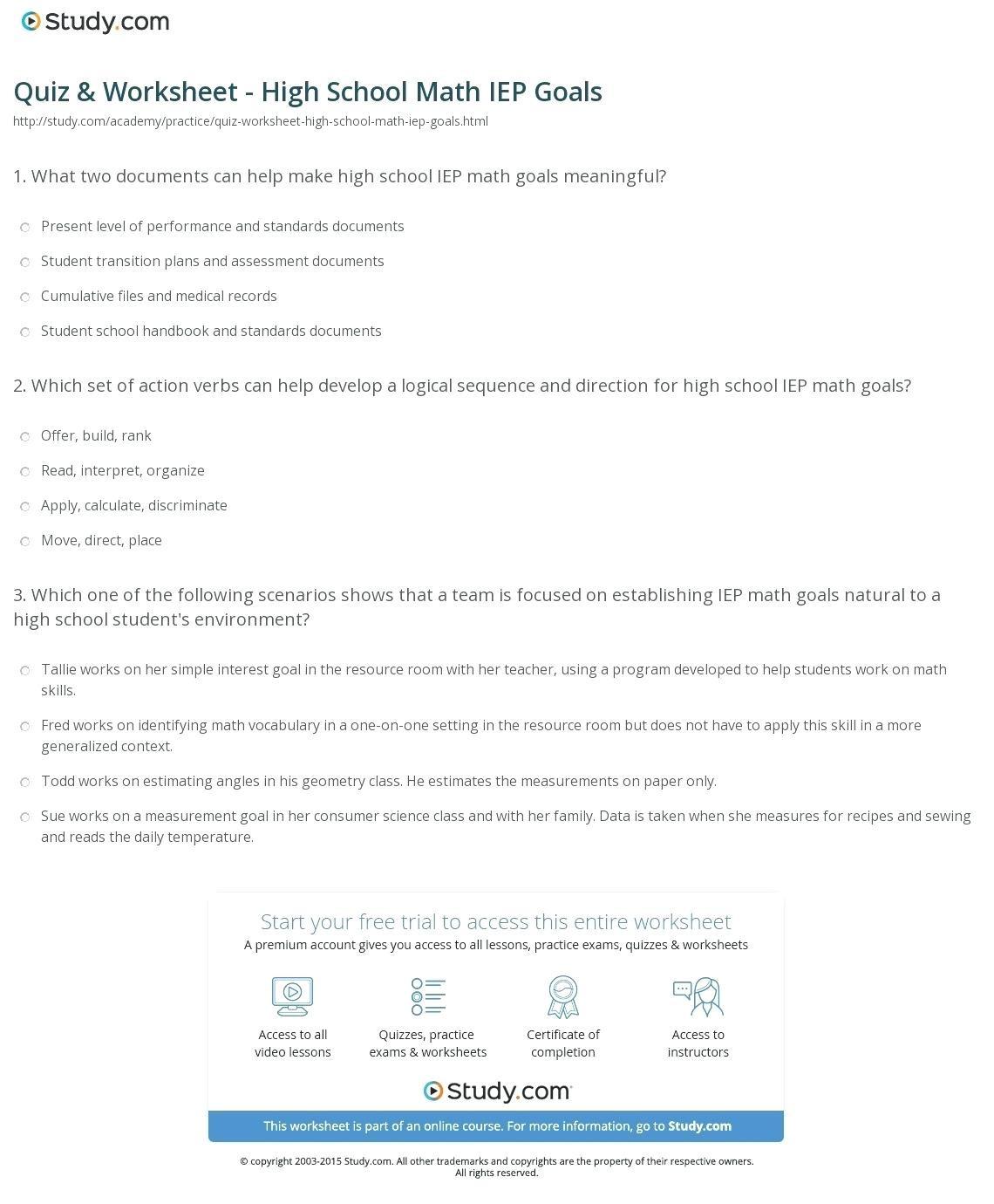 High School Math Practice Worksheets Bluedotsheetco