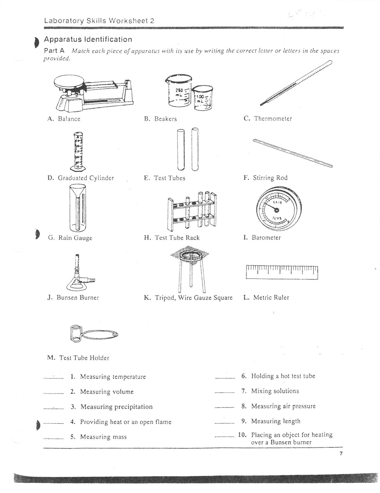 Becoming Familiar With Lab Equipment Worksheet Answer Key