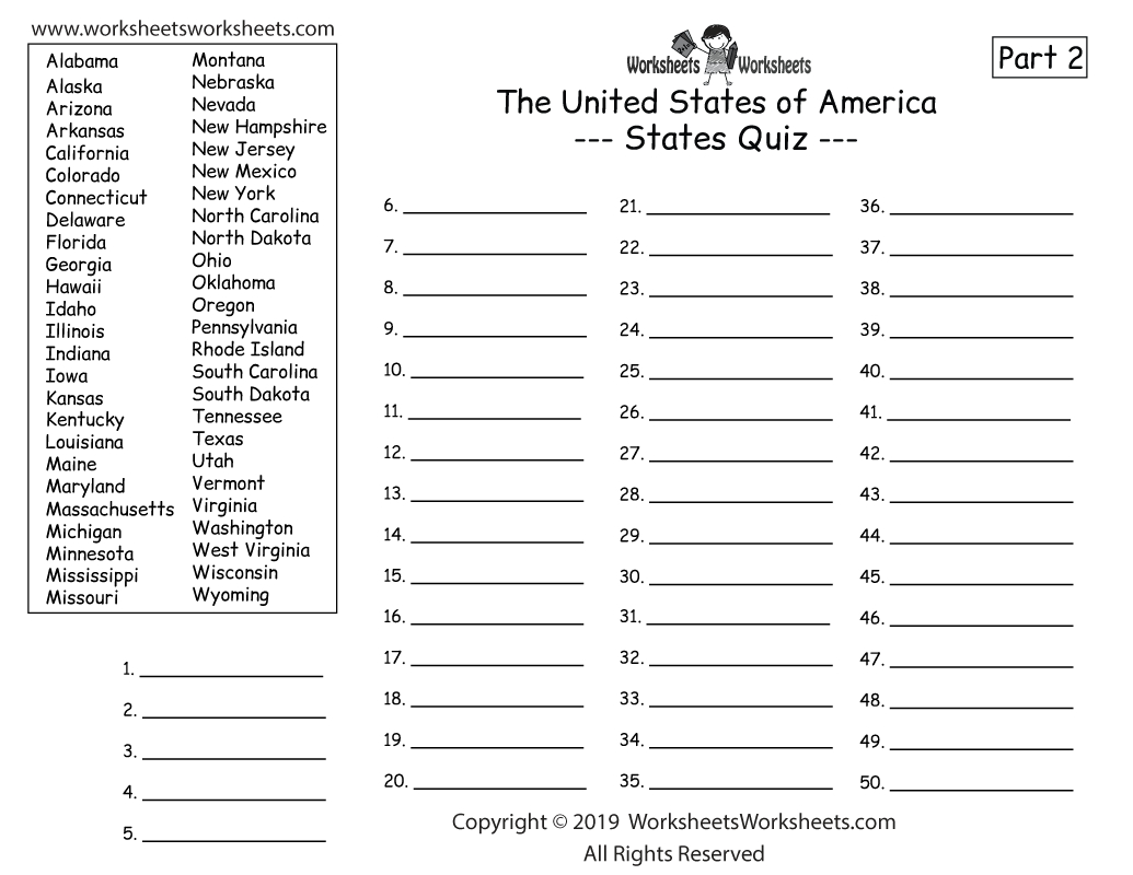 5th Grade Geography Worksheets