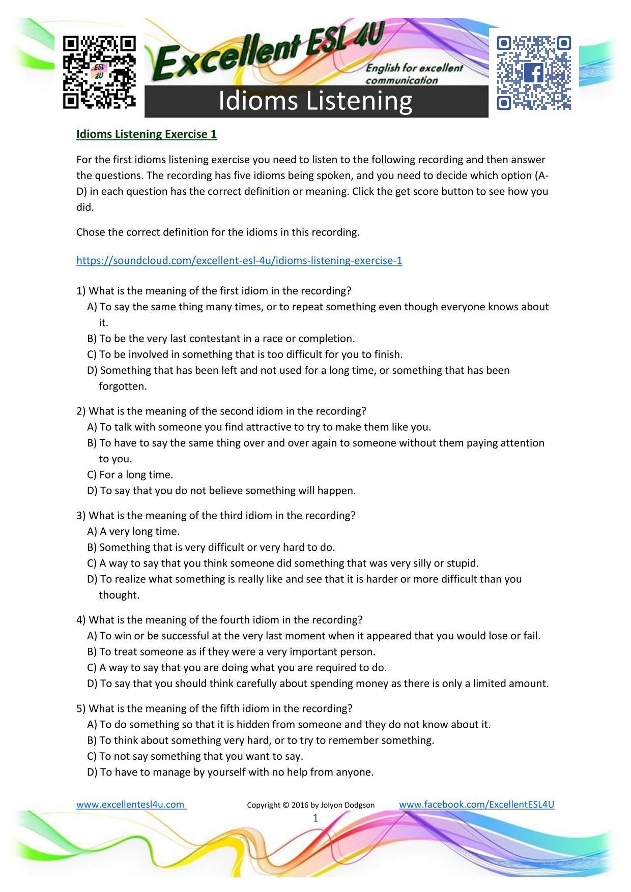 Listening Activity Worksheets