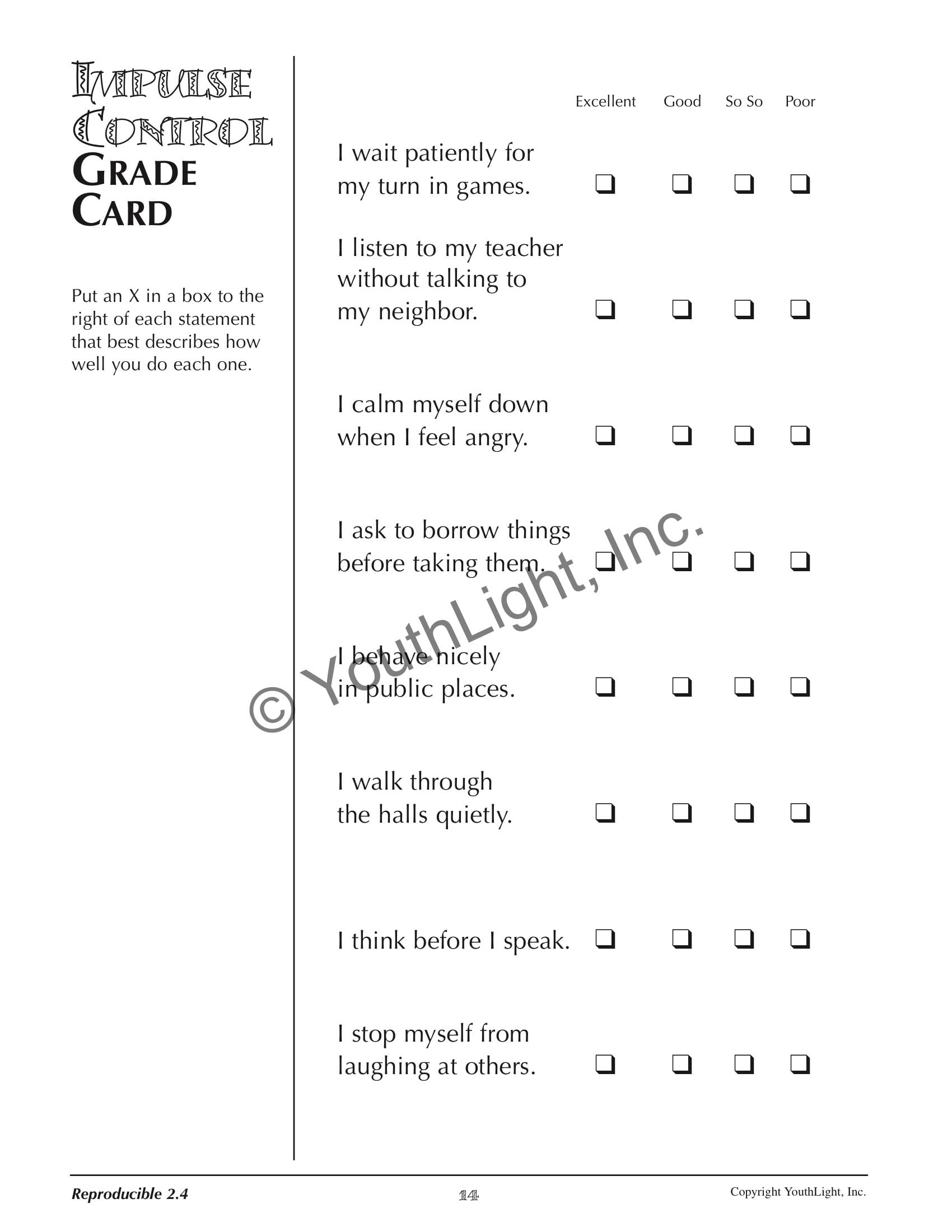 Self Control Worksheets