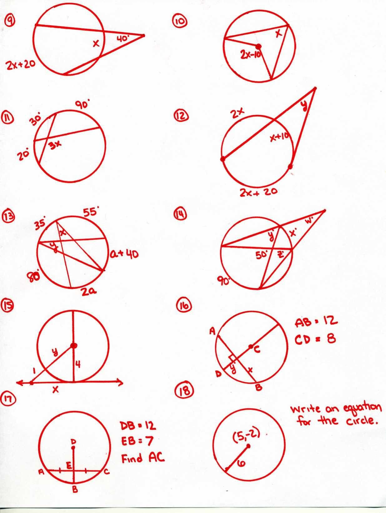 Inscribed Angles Worksheet