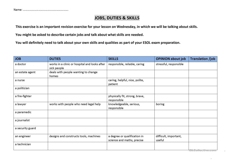 Jobs Duties And Skills English Esl Worksheets
