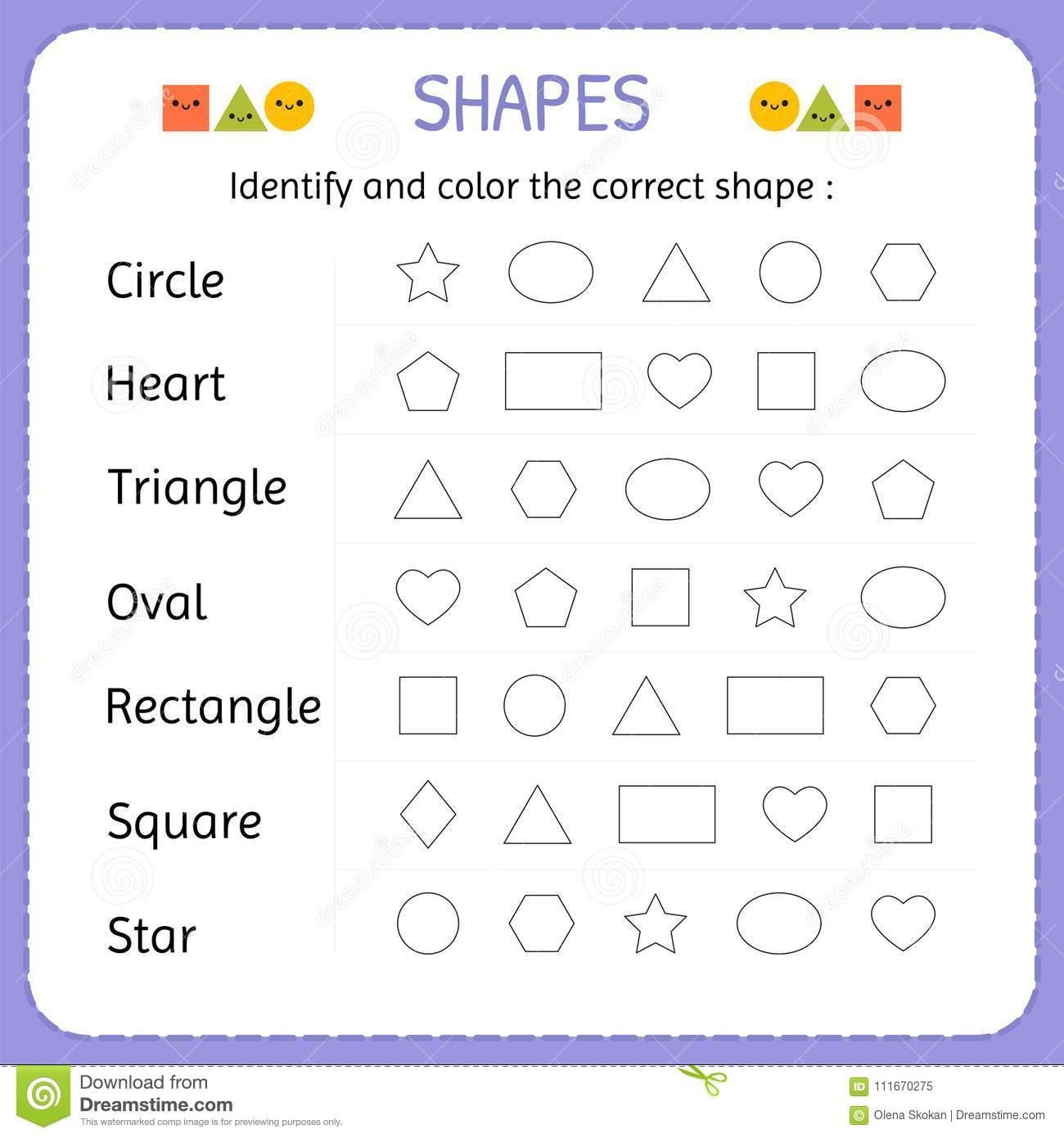 Pre K Shapes Worksheets