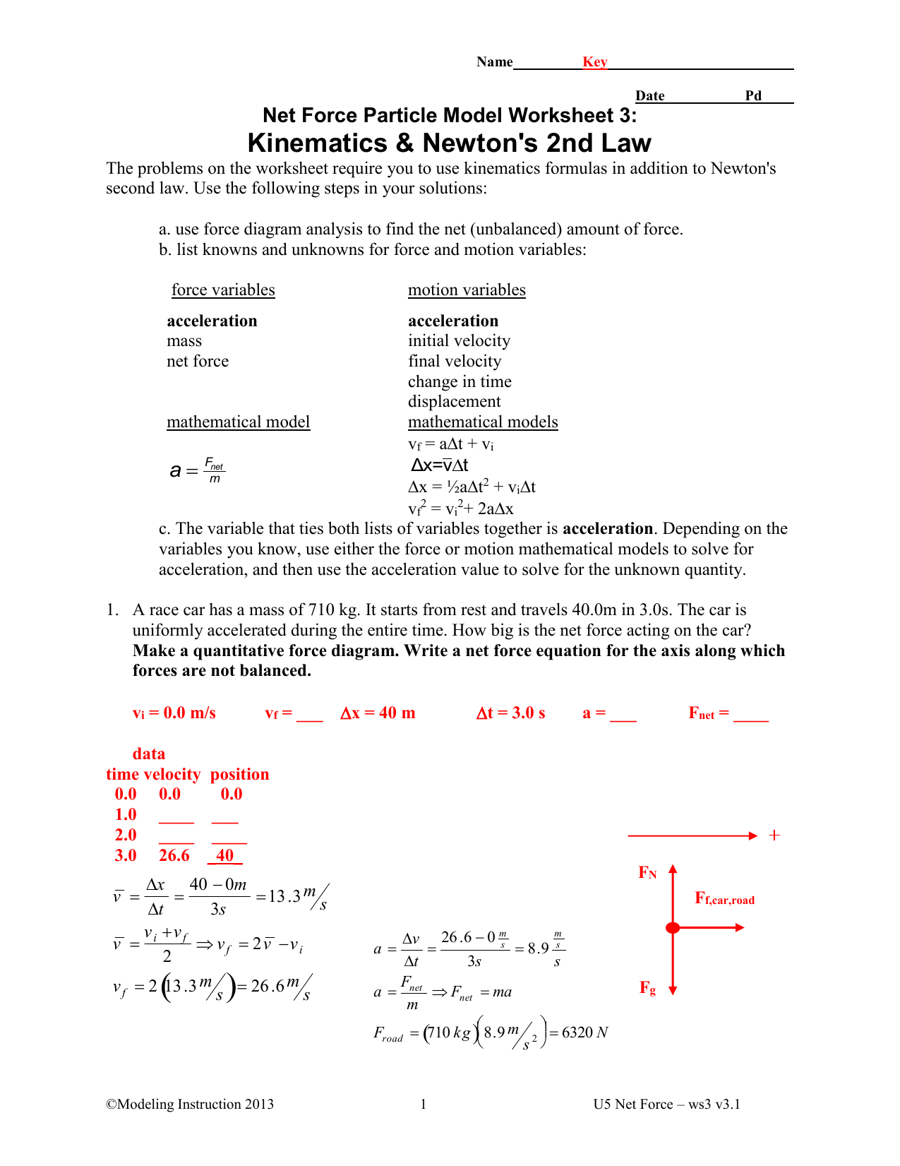 Kinematics And Newtons 2nd Law Key