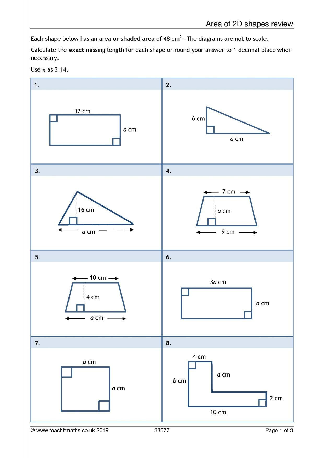 Ks3 Area And Perimeter Compound Shapes Teachit Maths