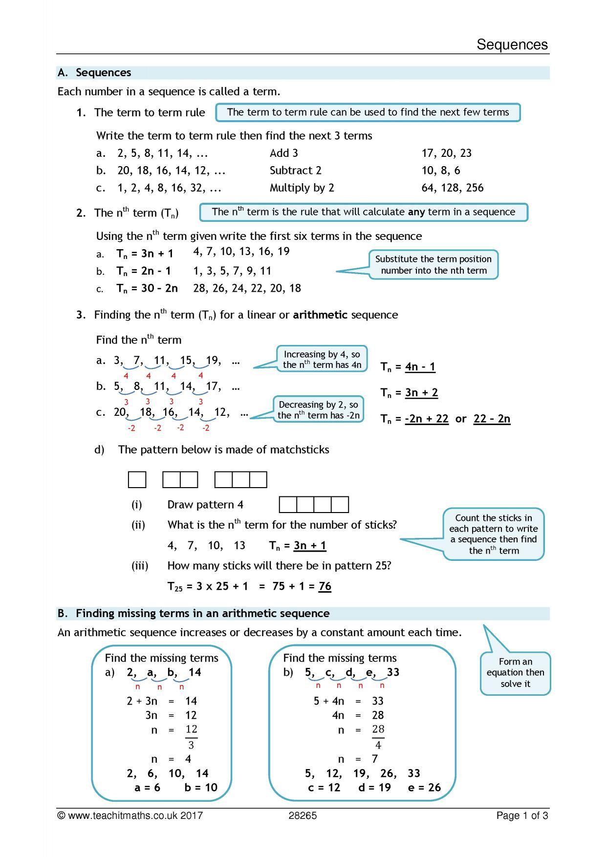 Ks4 Algebra Sequences Nth Term Teachit Maths