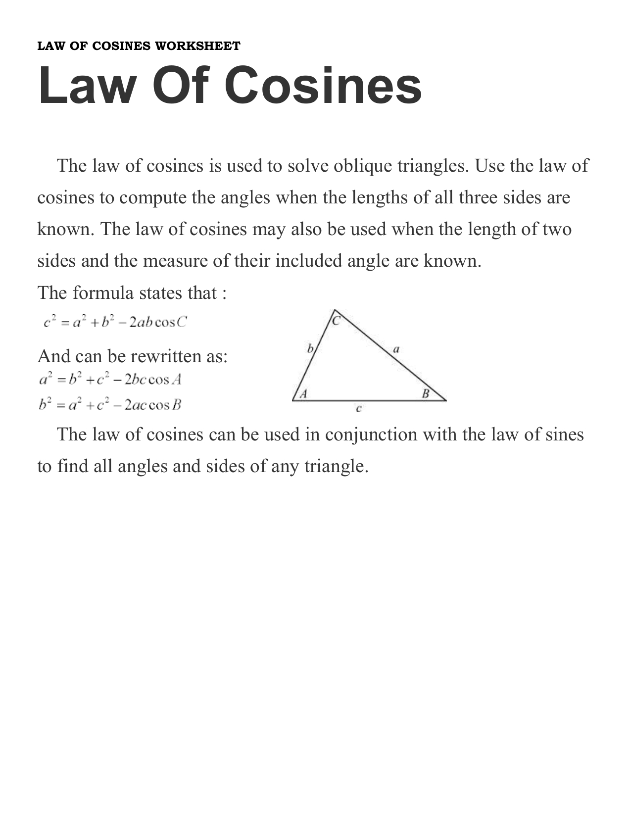The Law Of Sines Worksheet Answers