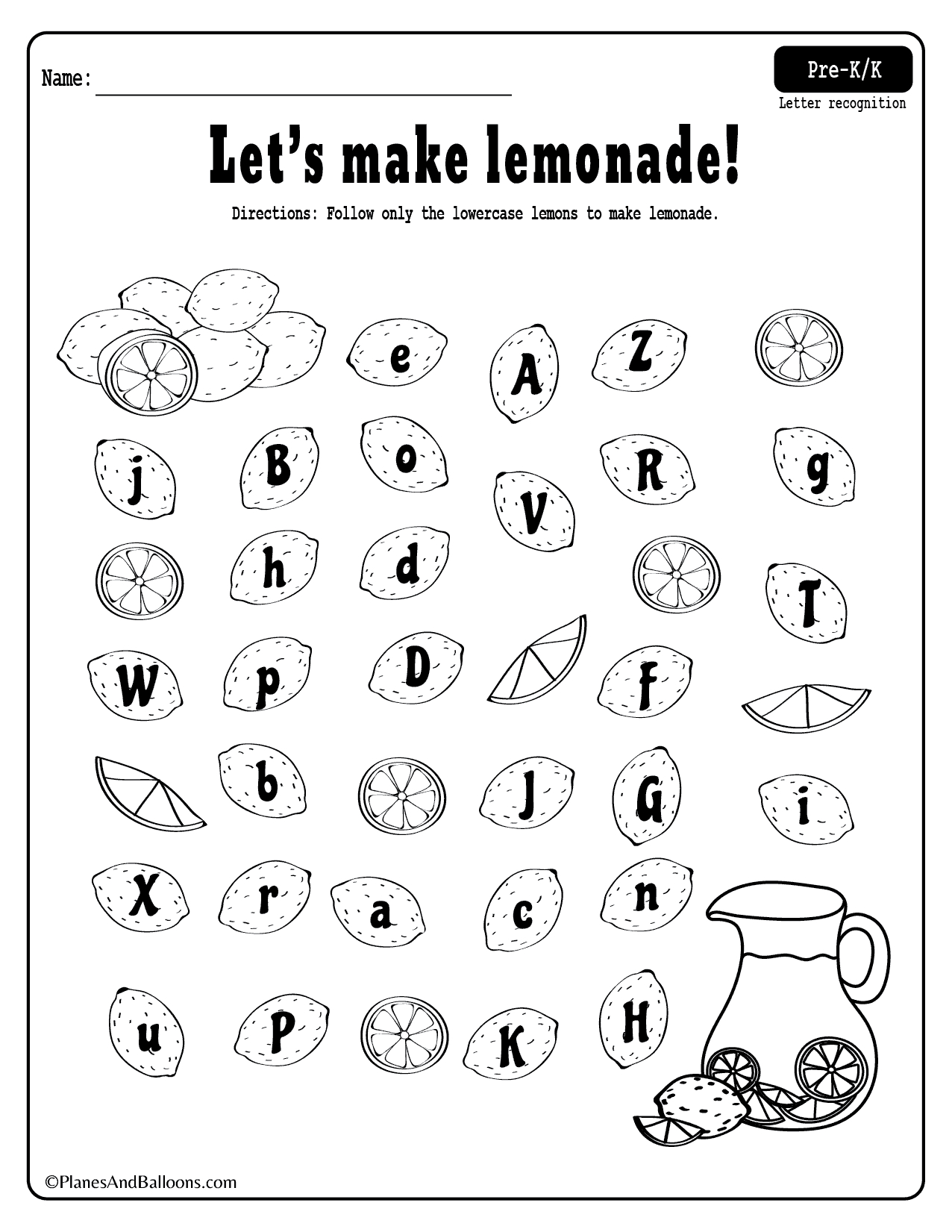 Letter Recognition Worksheets Pre K