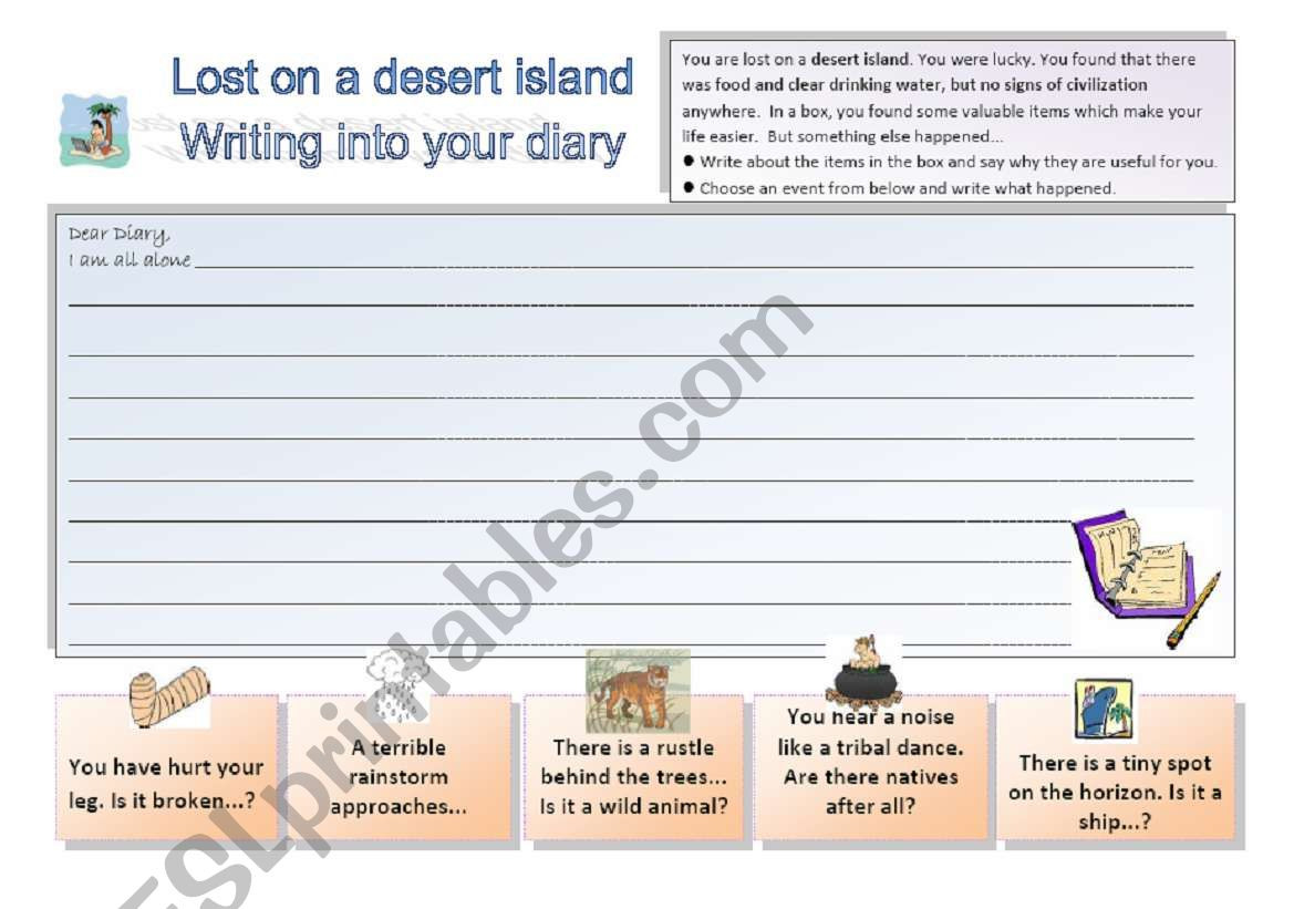 Lost On A Desert Island 33 Writing Activity Esl
