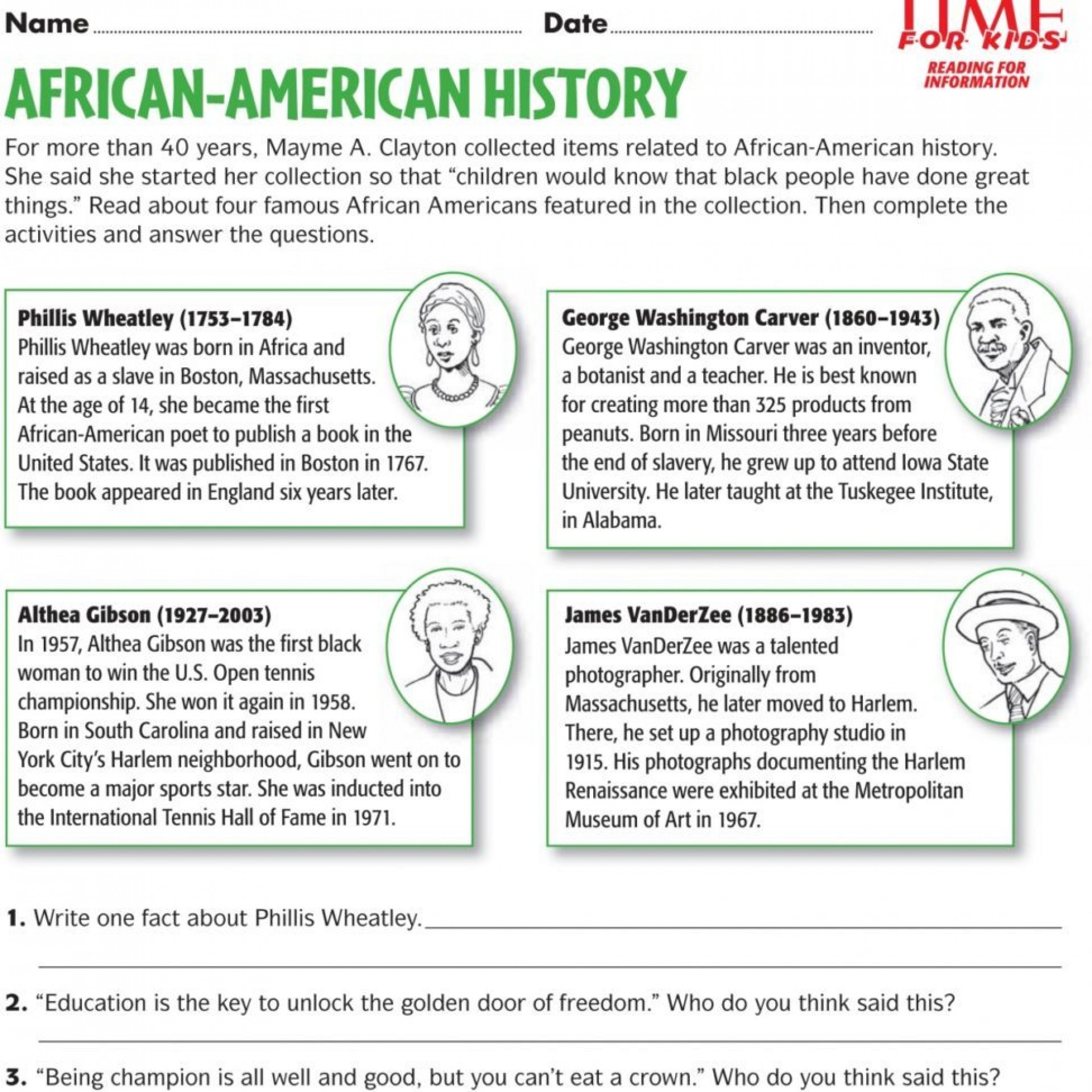 Free Printable Us History Worksheets