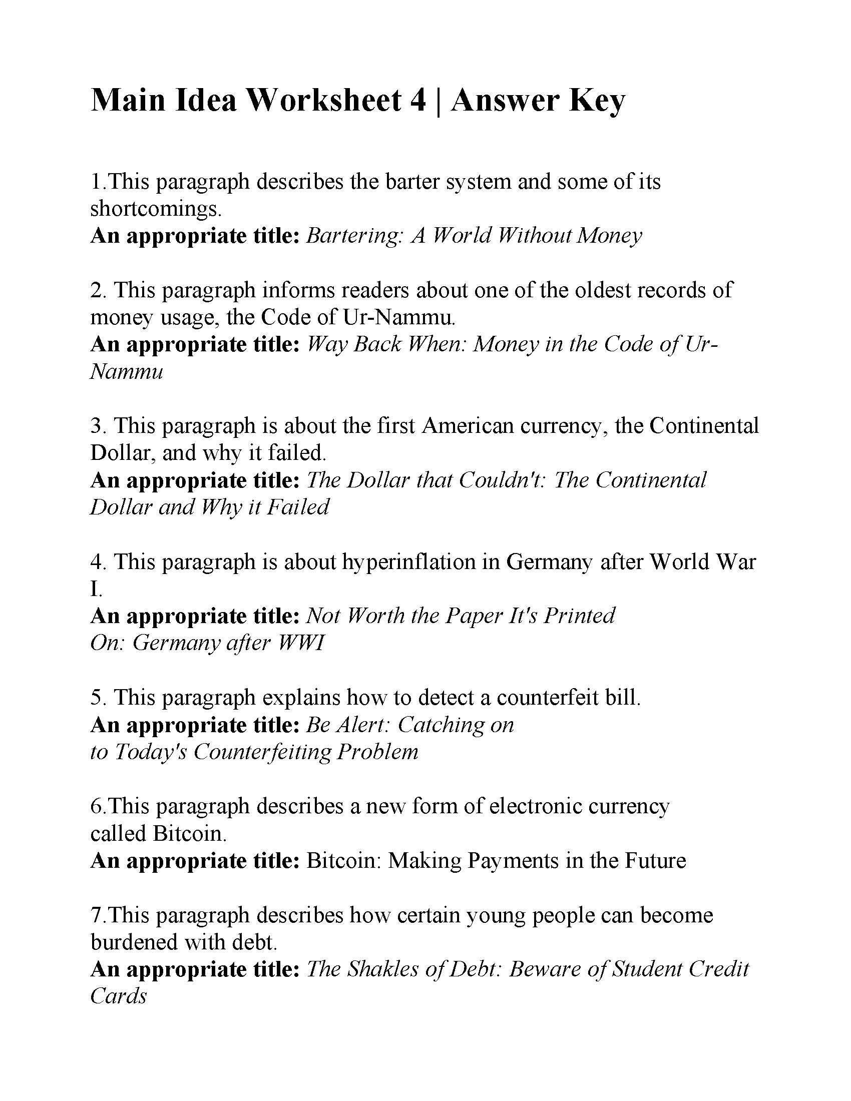 Main Idea Worksheet 4 Answers