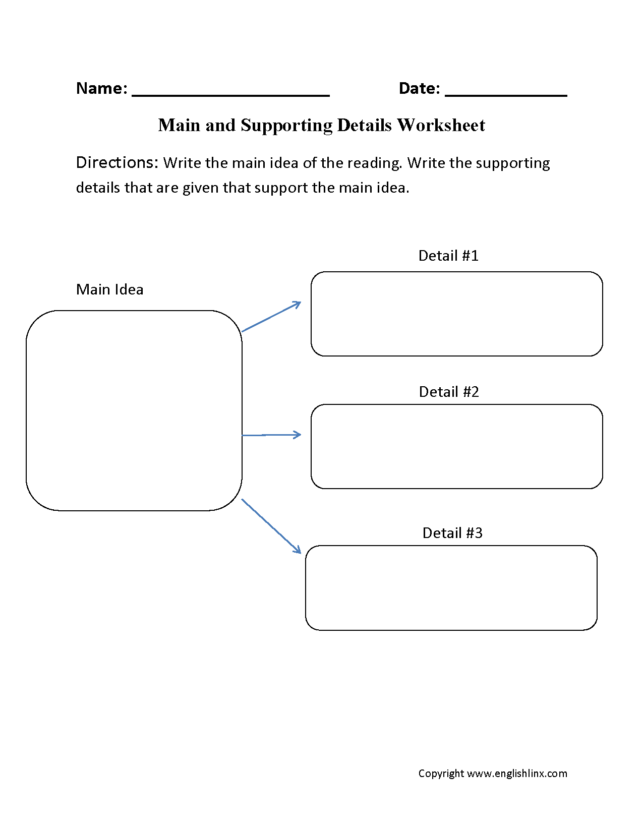 Main Idea And Details Worksheets