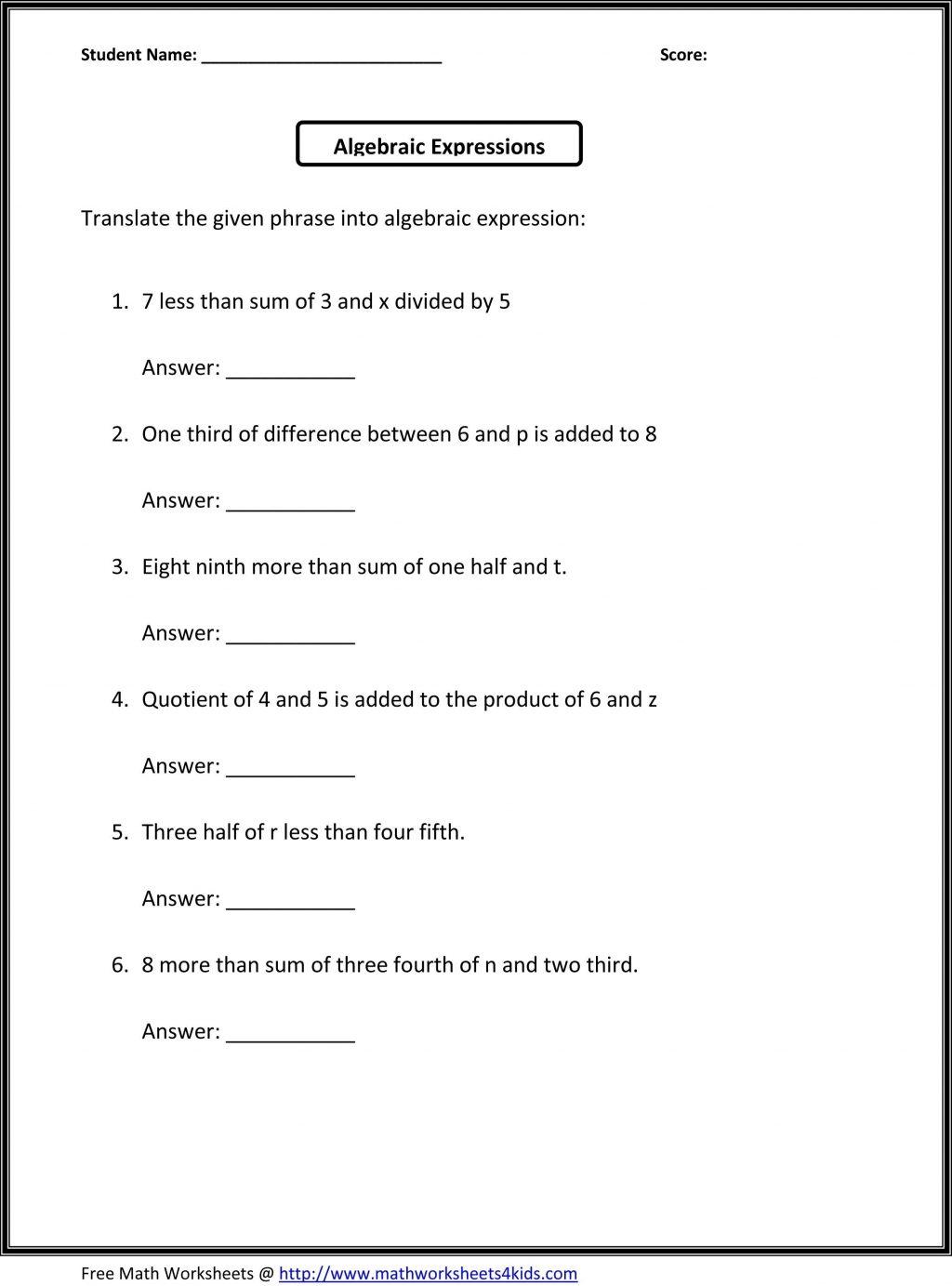 Math Algebraic Expressions Worksheets Writing Pre Algebra