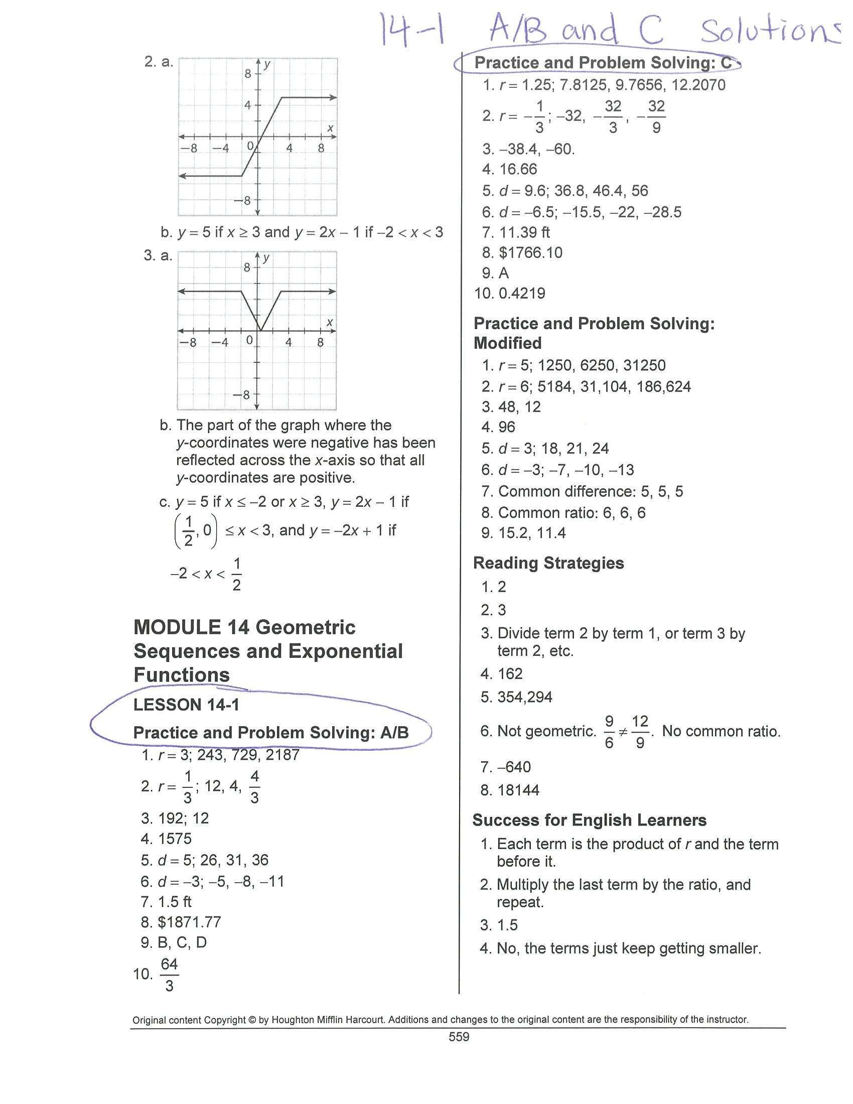 Math Models Worksheet 4 1 Relations And Functions Answers