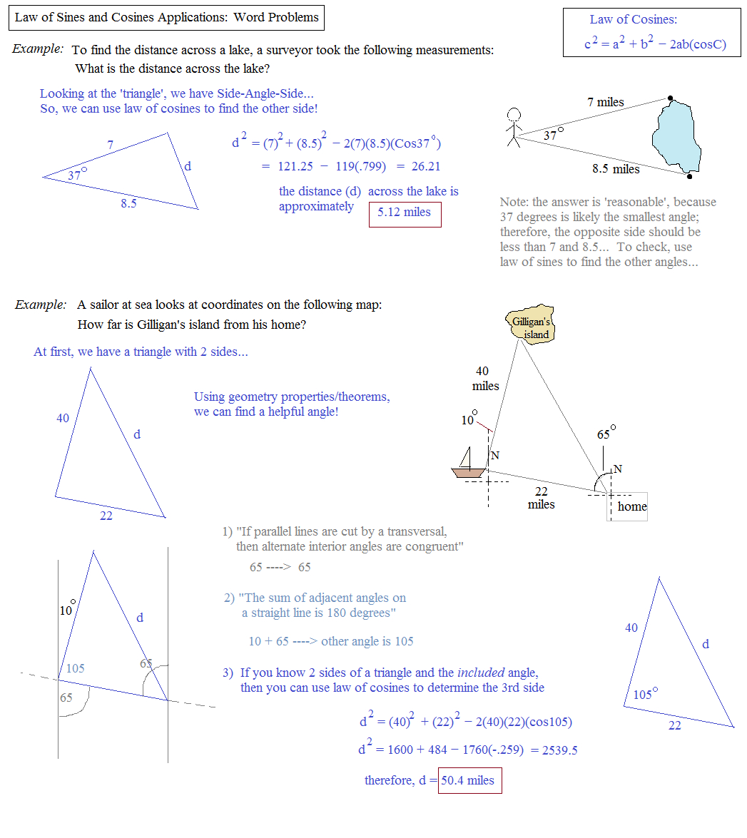 Math Plane Law Of Sines And Cosines Area Of Triangles