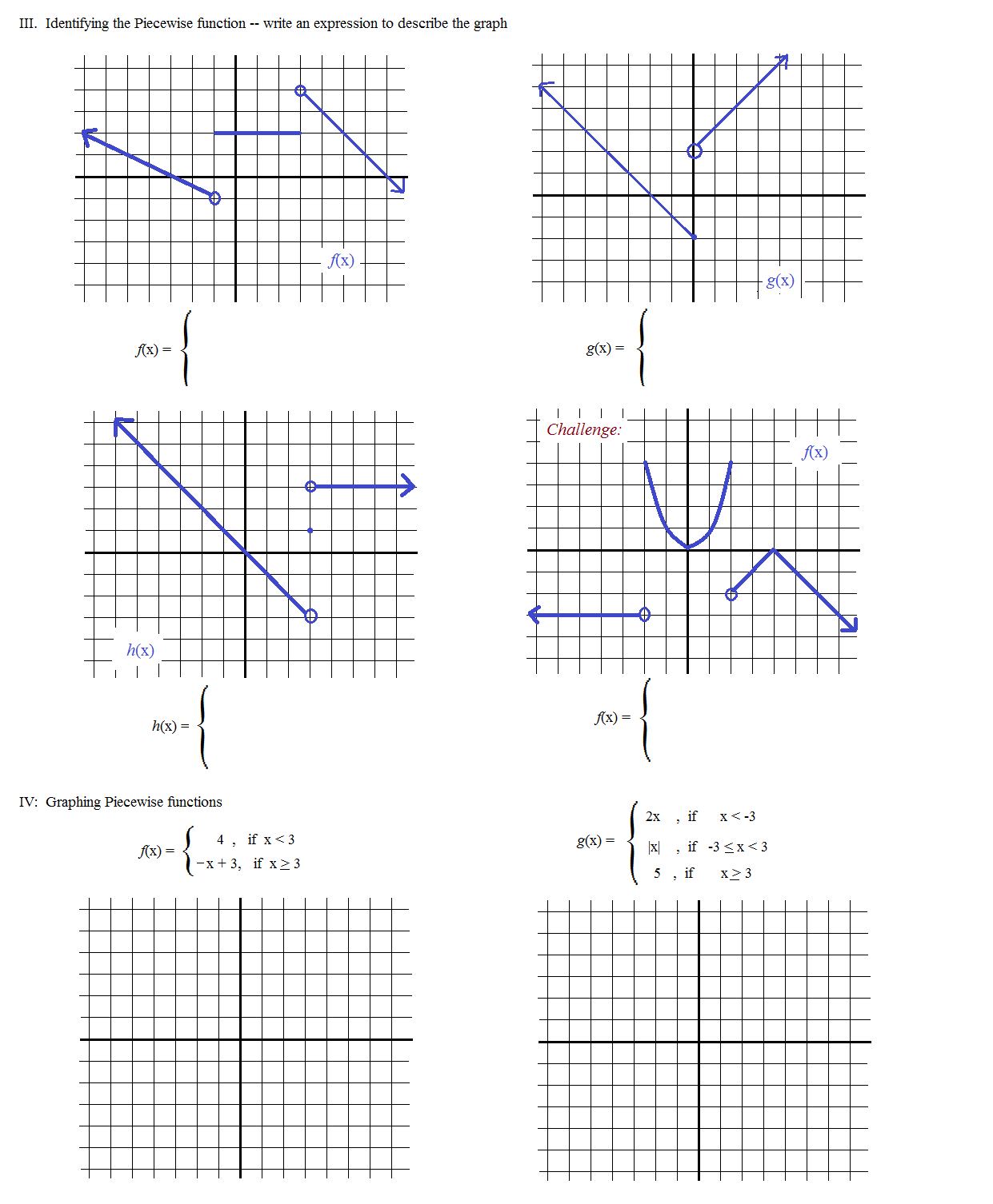Piecewise Functions Worksheet 1 Answers