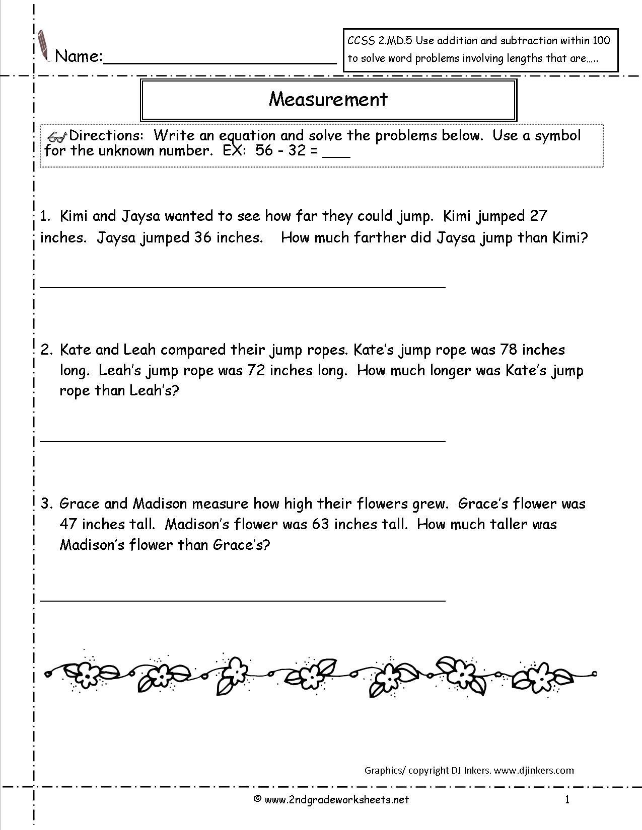 Math Reasoning Worksheets 2nd Grade