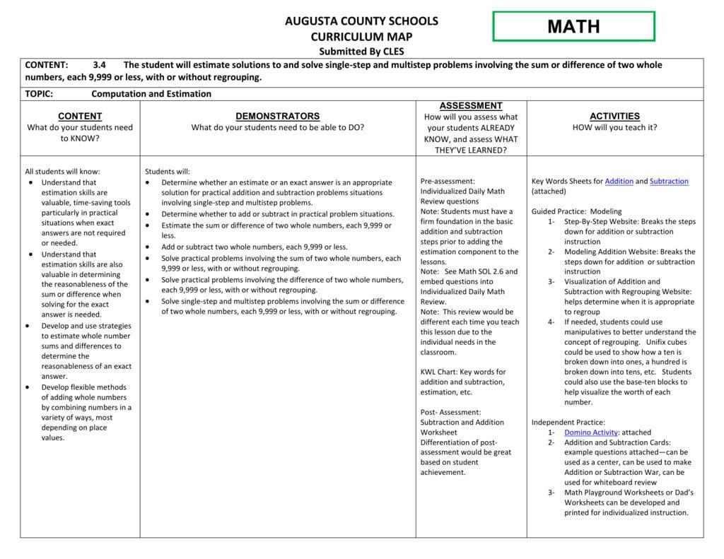 Math Sol 34 Augusta County Public Schools