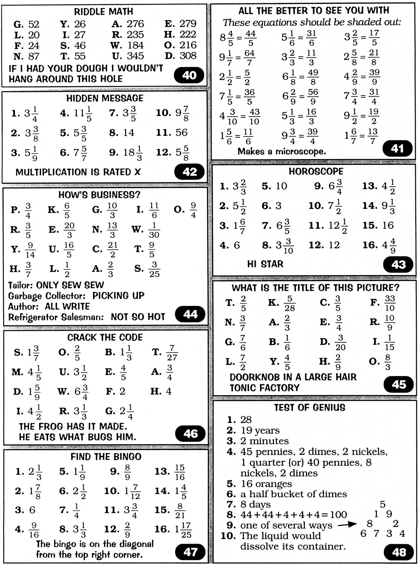 Math Worksheets Answers To Books Never Written Worksheet