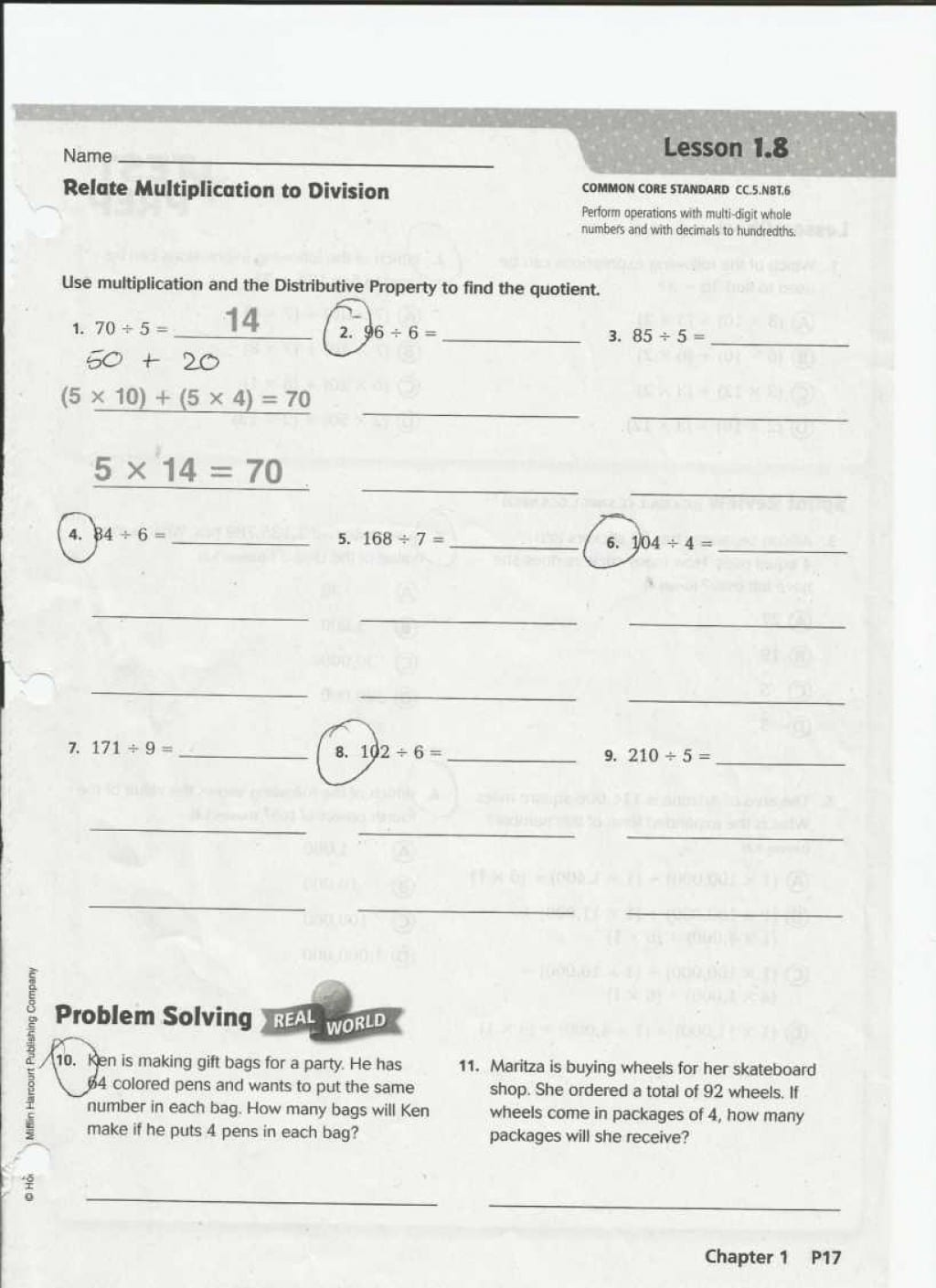 Math Worksheets Houghton Mifflin Grade Remarkable Harcourt