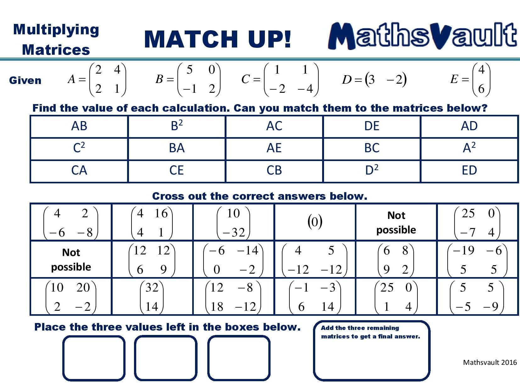 Matrix Equations Match Up Worksheet