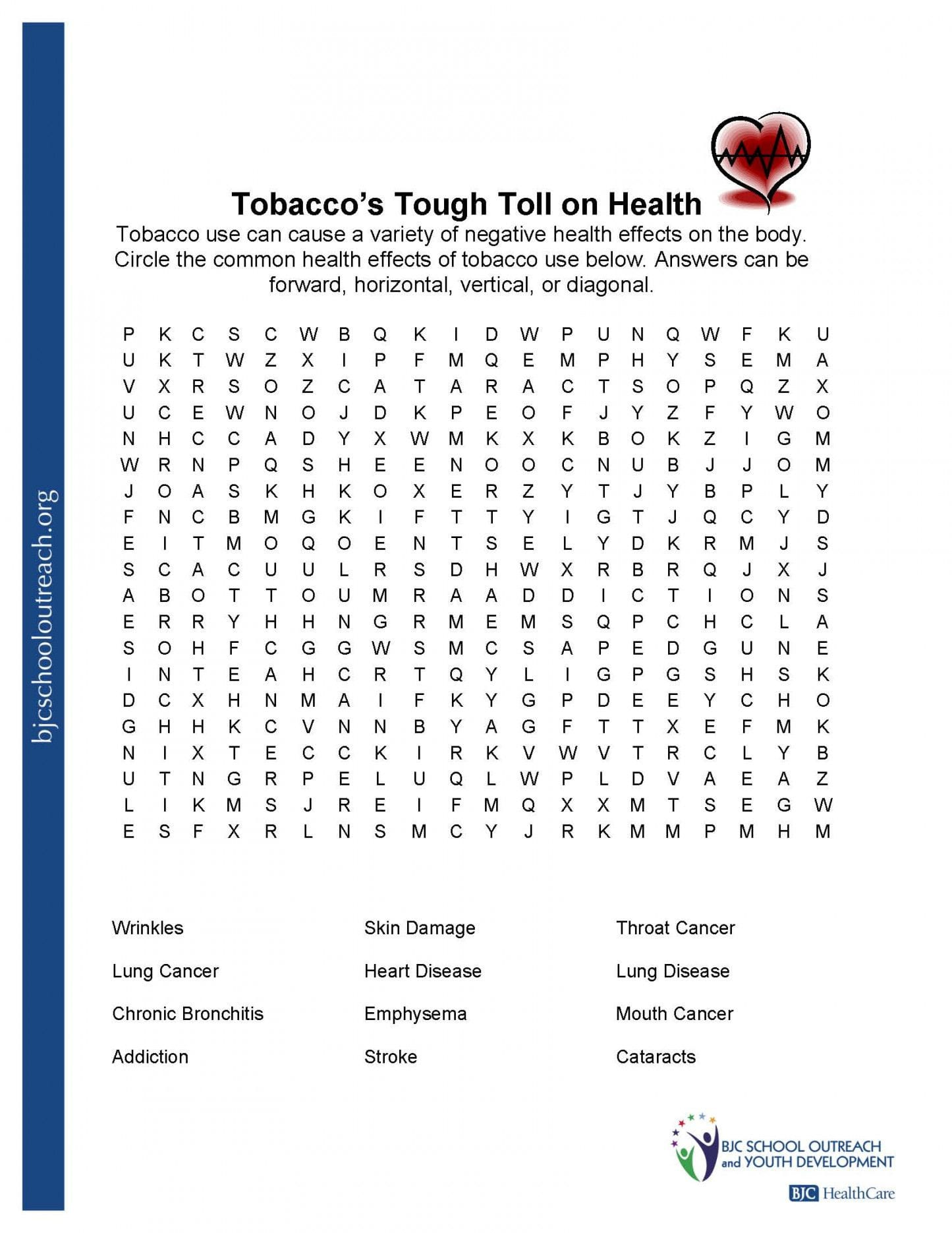 Middle School Health Worksheets Balancing Chemical