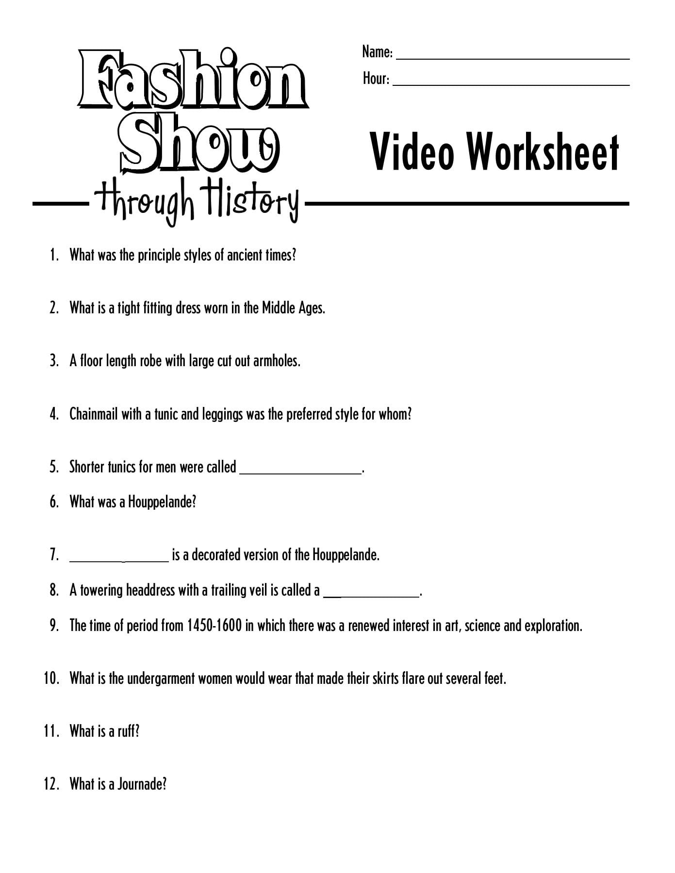 Name Hour Video Worksheet Learning Zonexpress