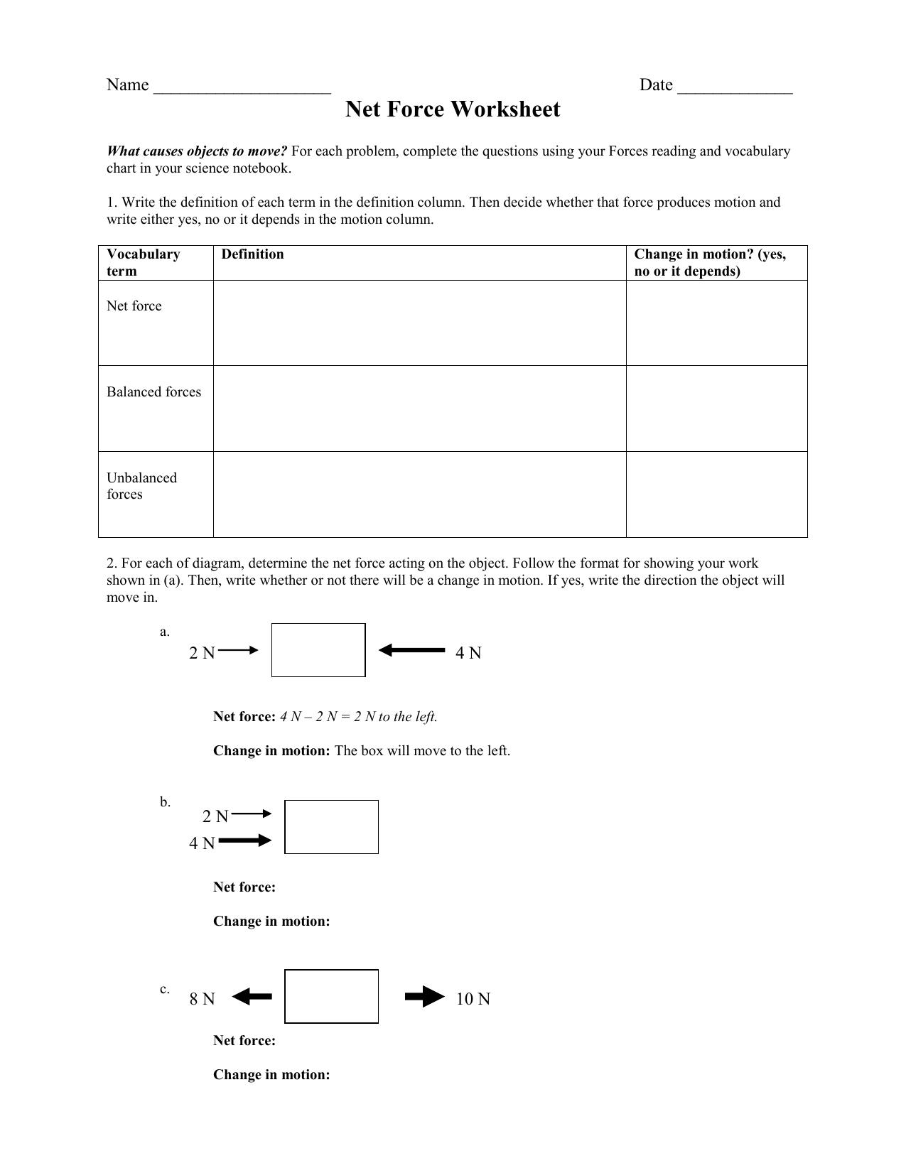 Net Force Worksheet Crjh 8th Grade Science