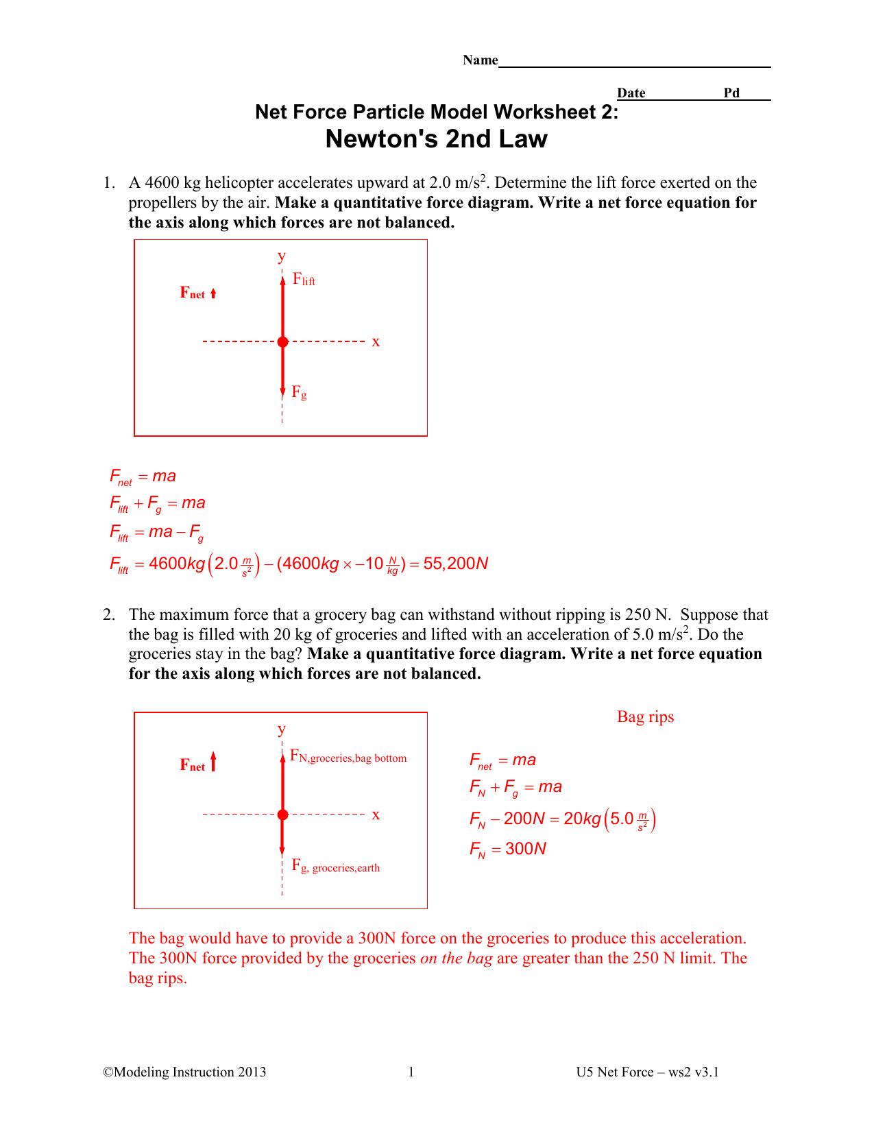 Newtons 2nd Law Key Northwest Isd Moodle