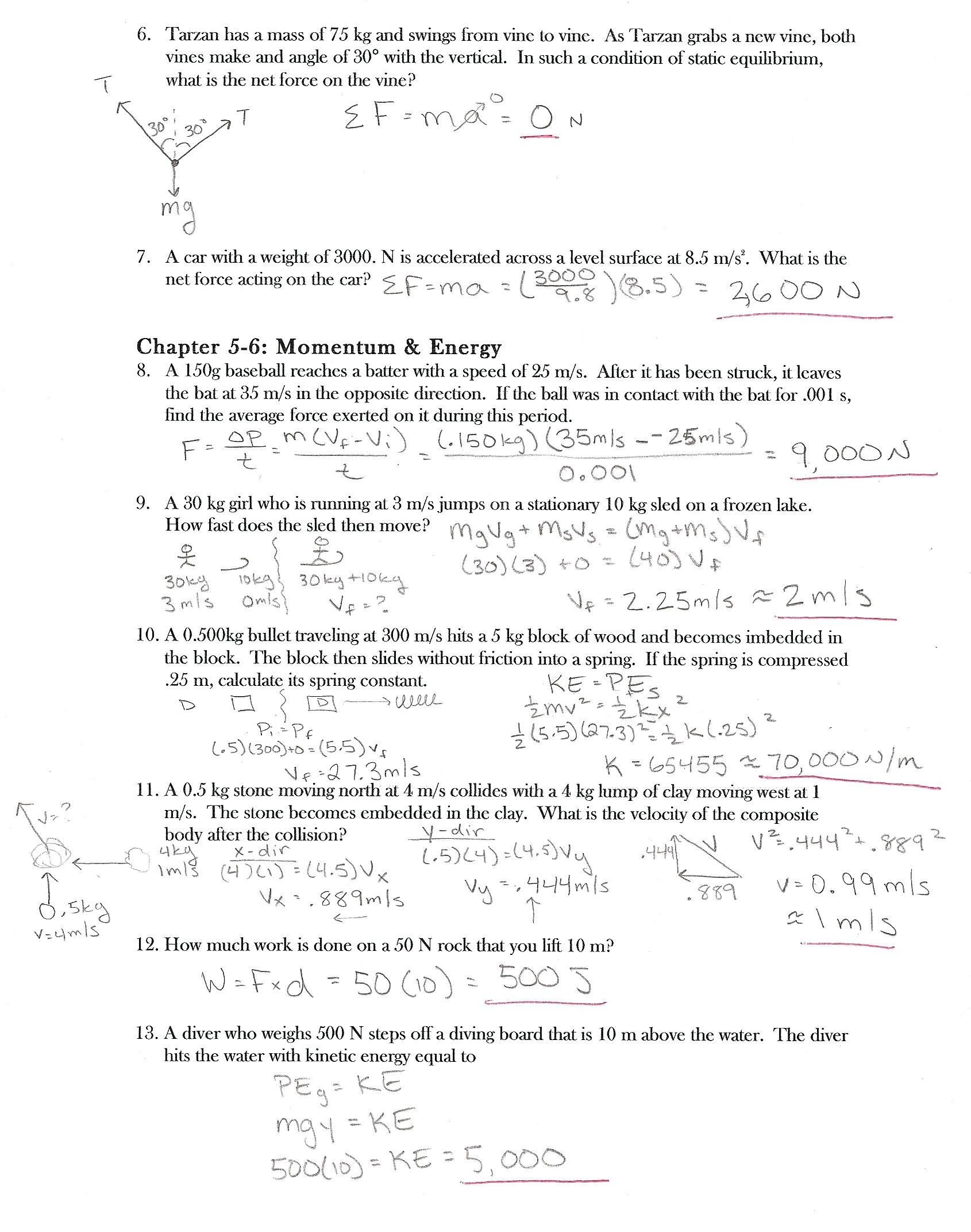 Newtons Second Law Worksheet Answers 1 In Physics Class A