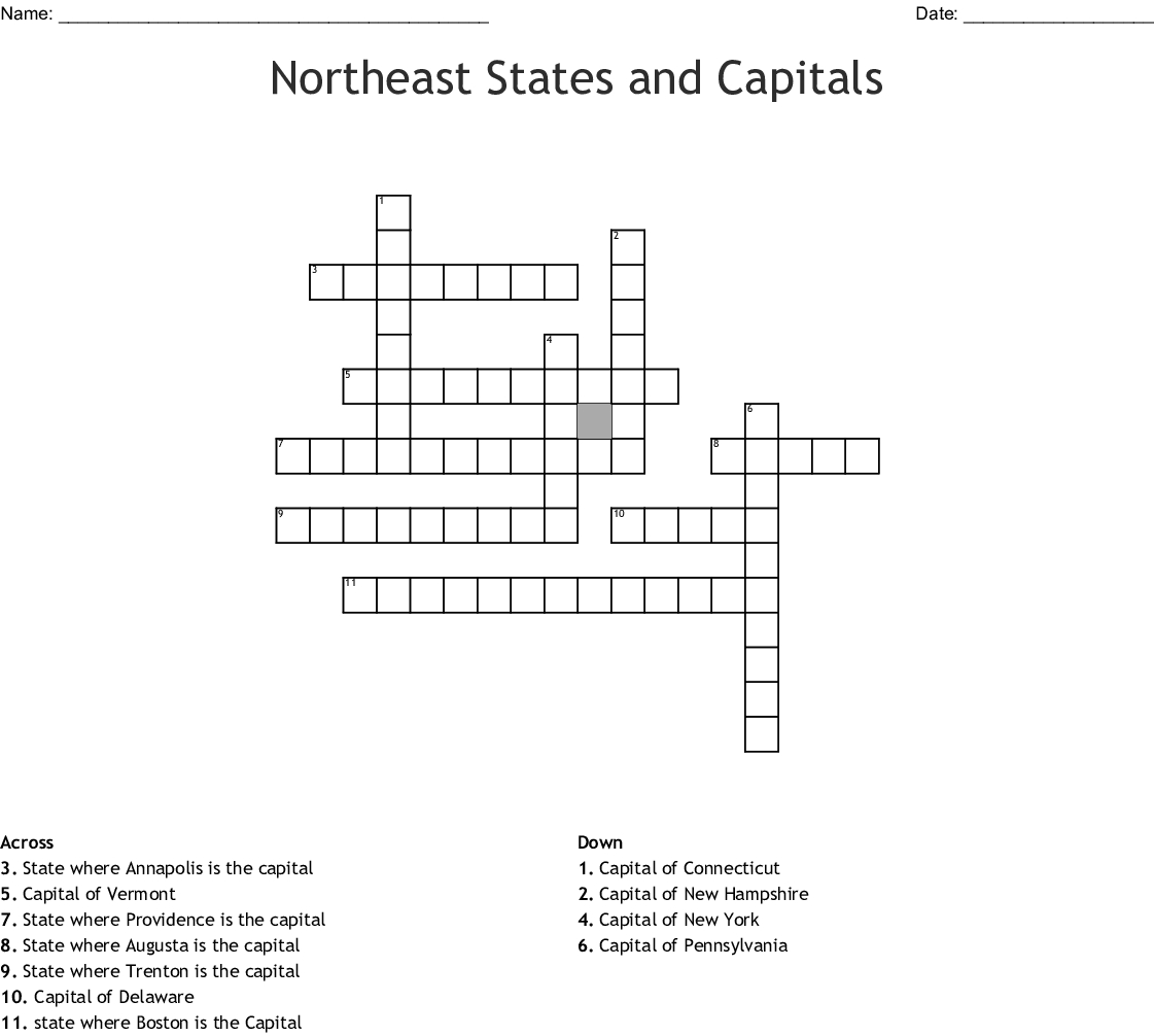 Northeast Region Worksheets