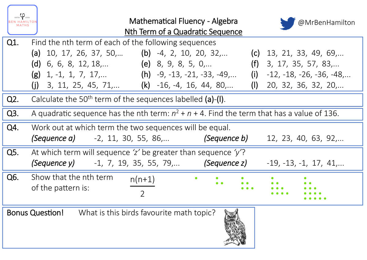 Nth Term Of Quadratic Sequences Fluency Worksheet Free