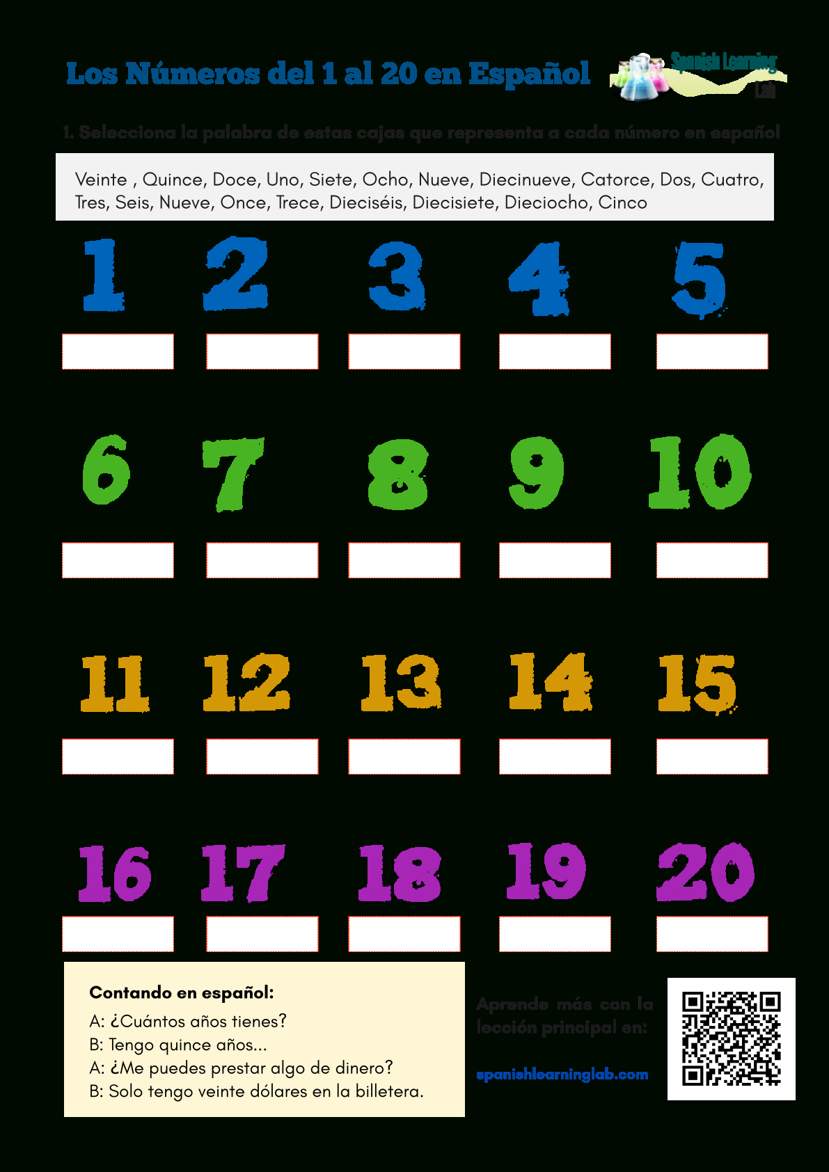 Numbers In Spanish From 1 To 20 Worksheet