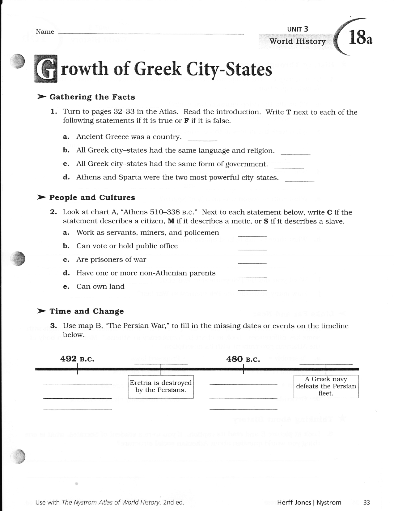 Nystrom World History Atlas Worksheets Answers Db Excel