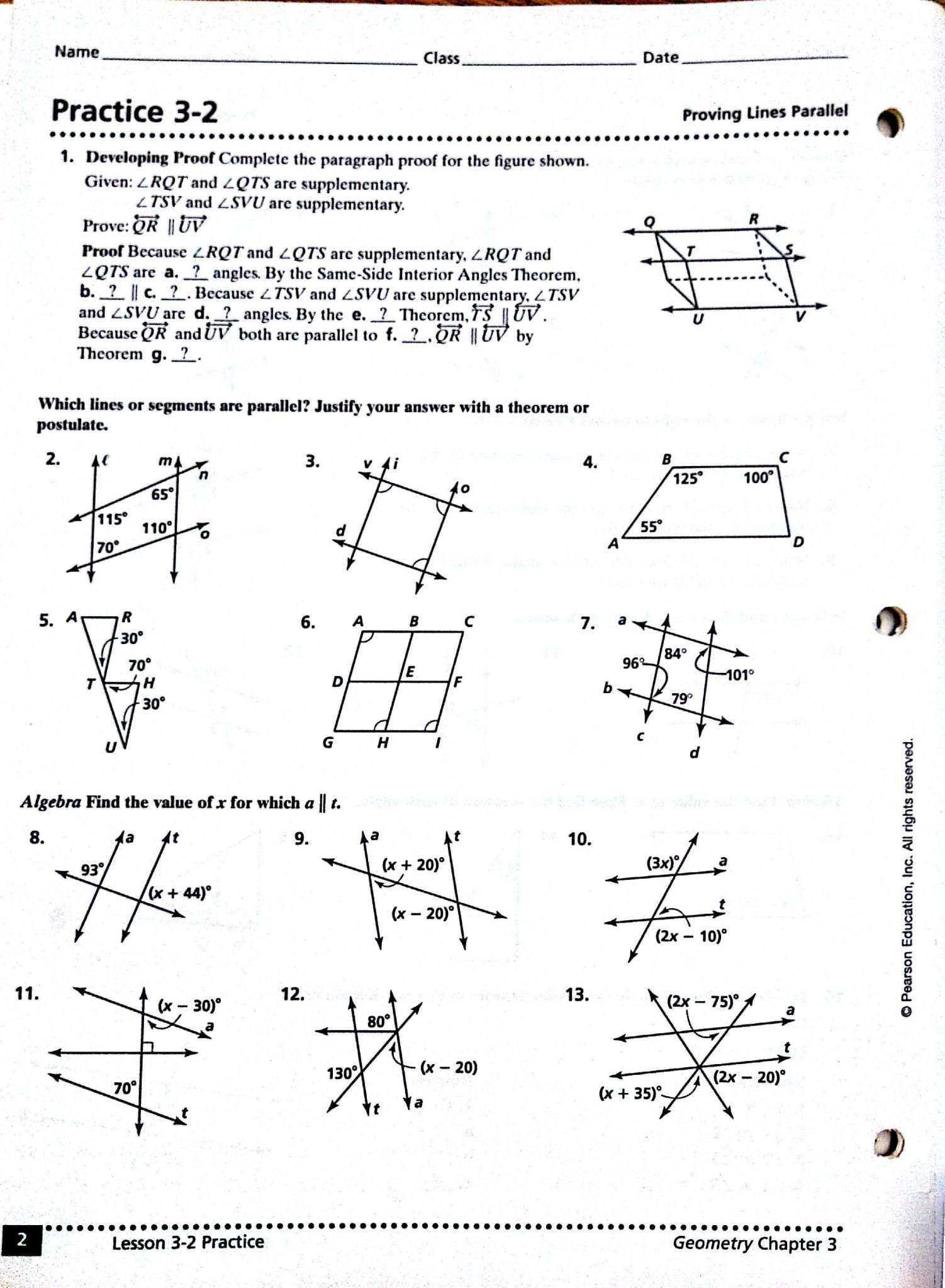Proving Parallel Lines Worksheet With Answers