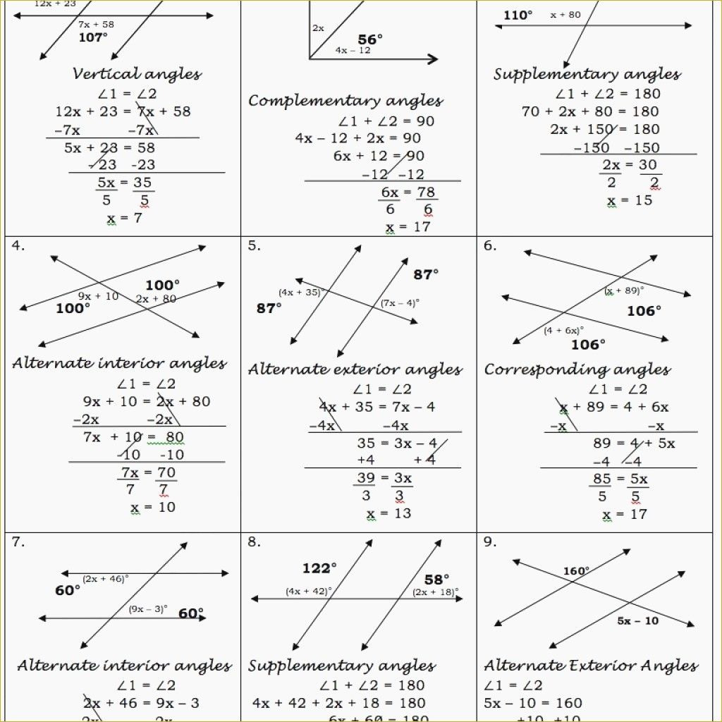 Parallel Lines Cuta Transversal Worksheet Answer Key